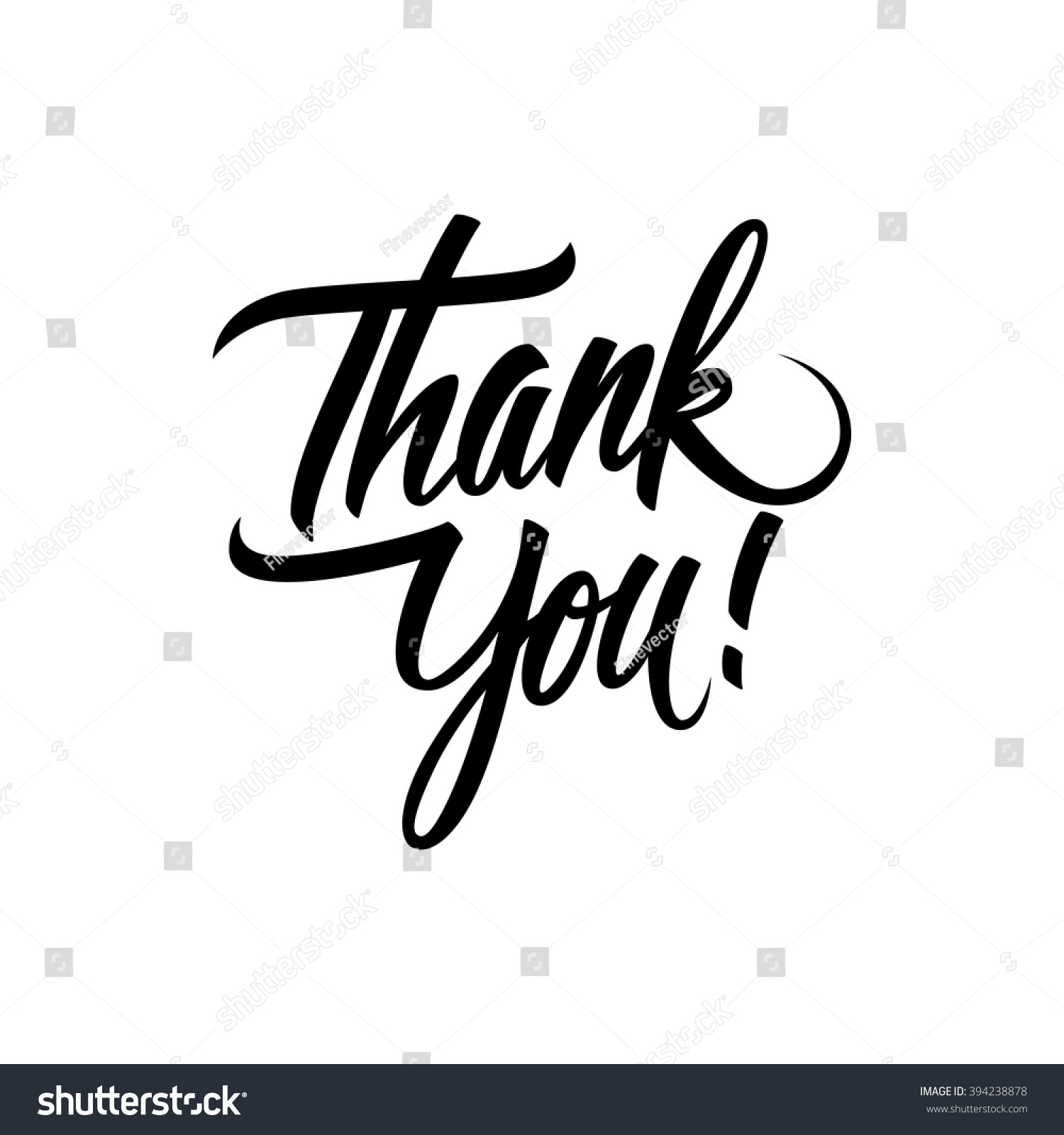 Thank You Handwritten Inscription Hand Drawn Stock Vector