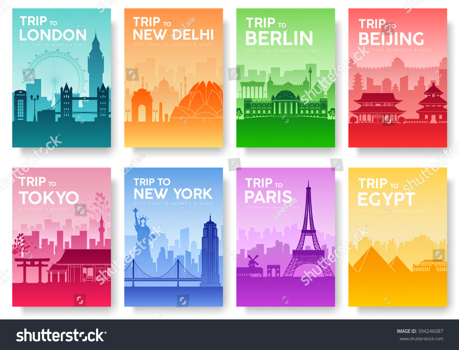 Illustrated Book Cover Vector ~ Travel information cards landscape template flyear stock vector