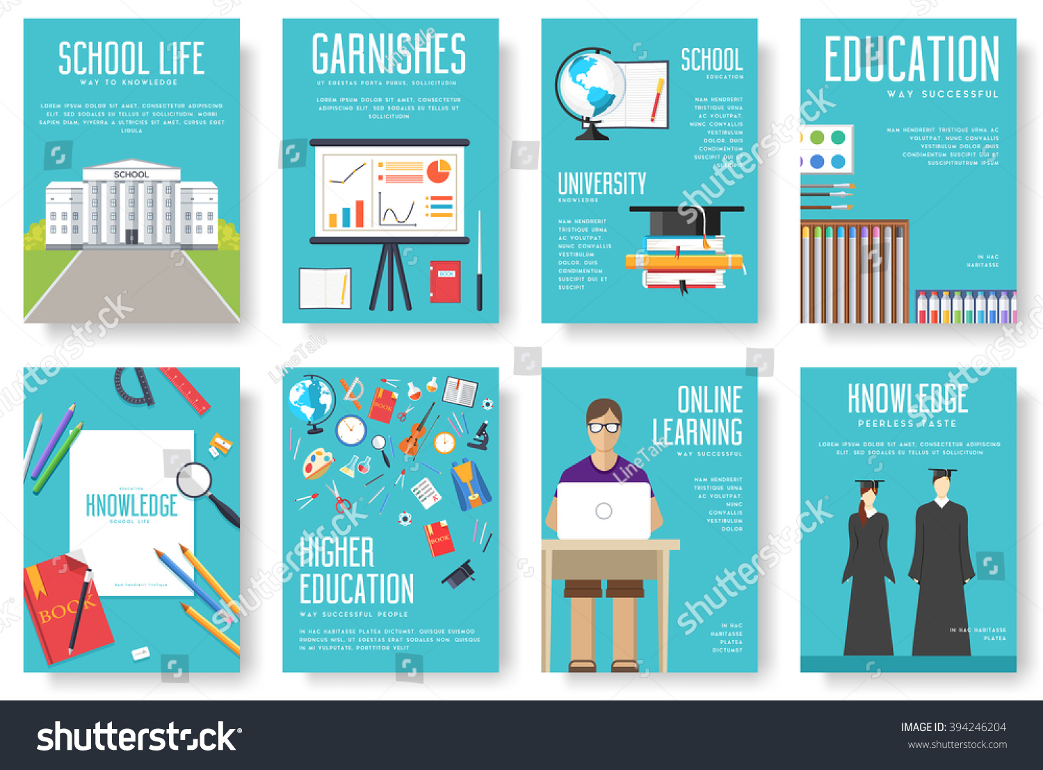 Student Book Cover Template ~ Back school information cards set student stock vector