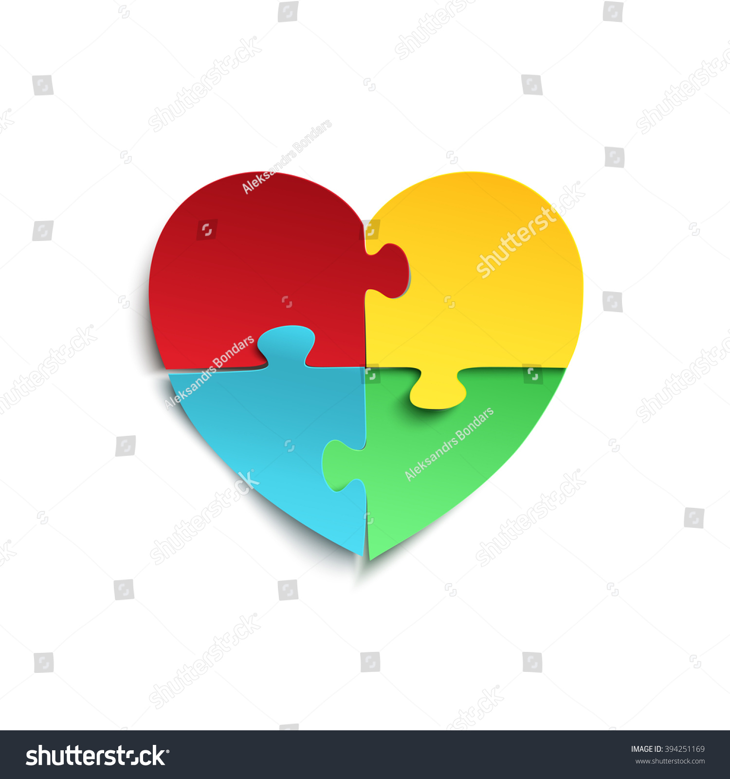 Jigsaw Puzzle Pieces Form Heart Isolated Stock Vector Royalty Free