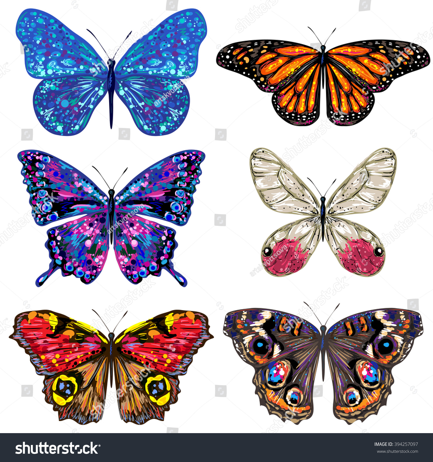 butterfly set vector colorful butterflies butterflies stock vector