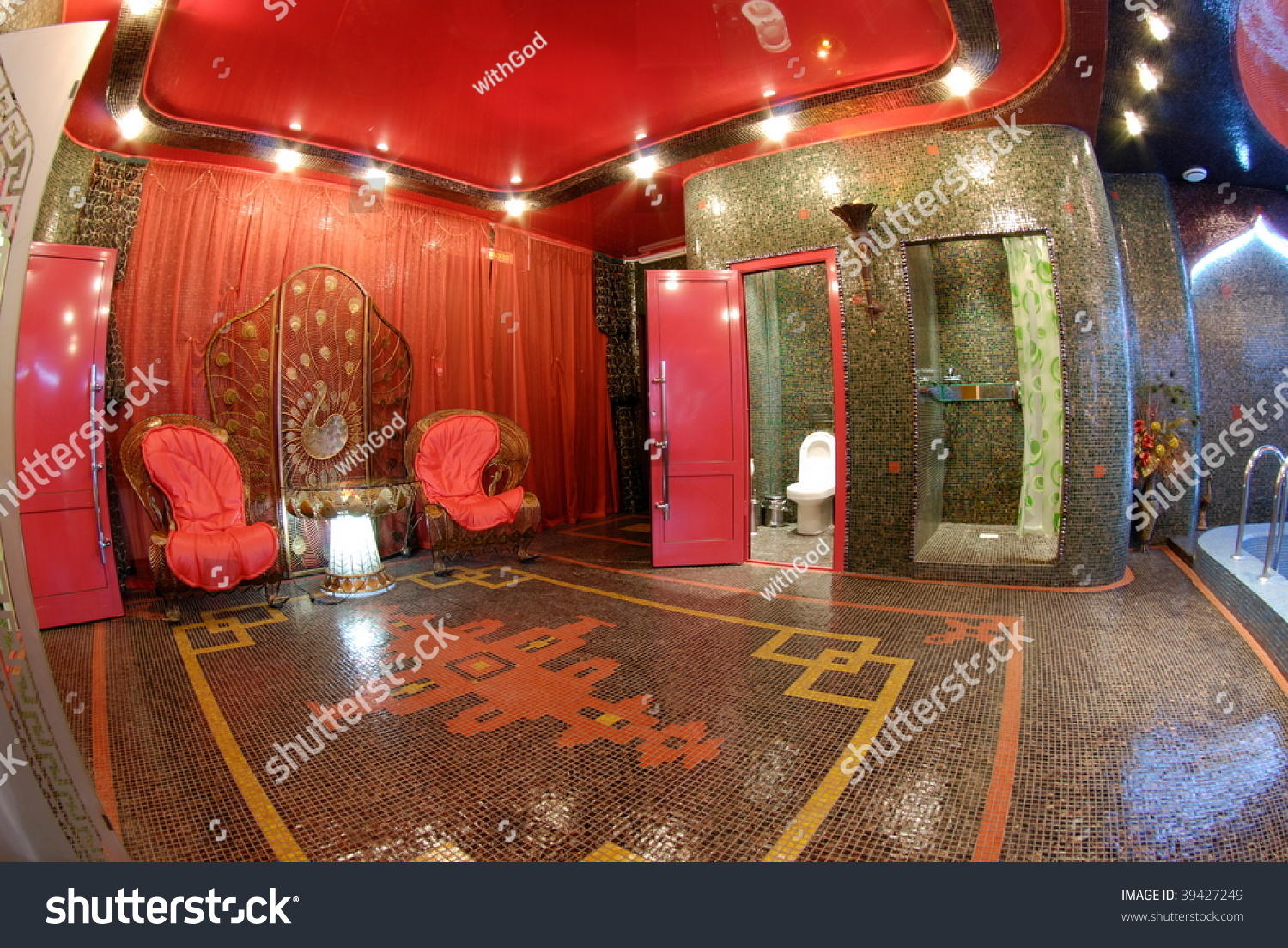 Mosaic Sauna In Oriental Style With Toilet And Shower