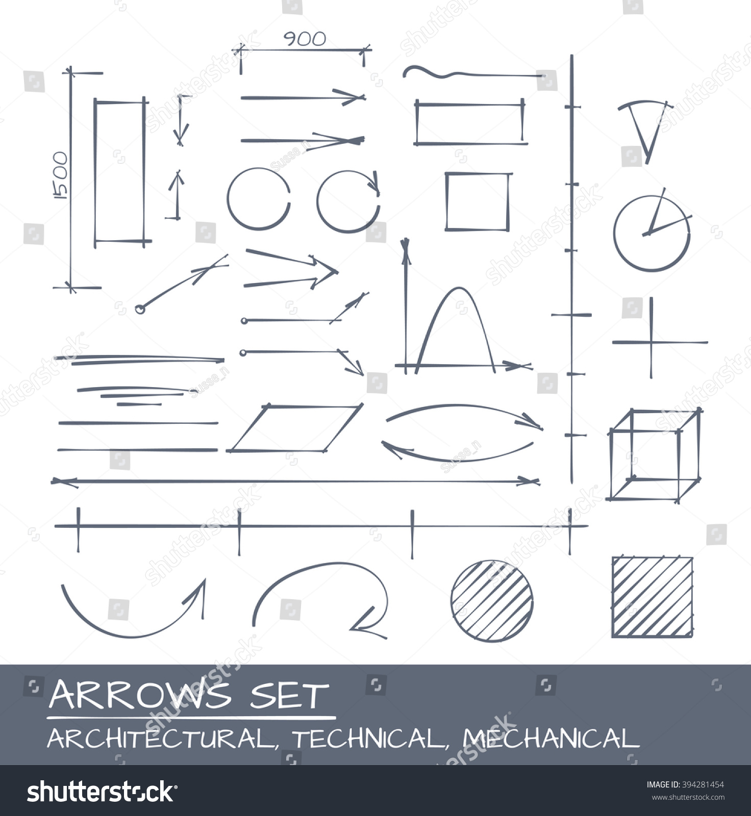 Architectural Technical and Engineering Arrows Hand Drawn Set