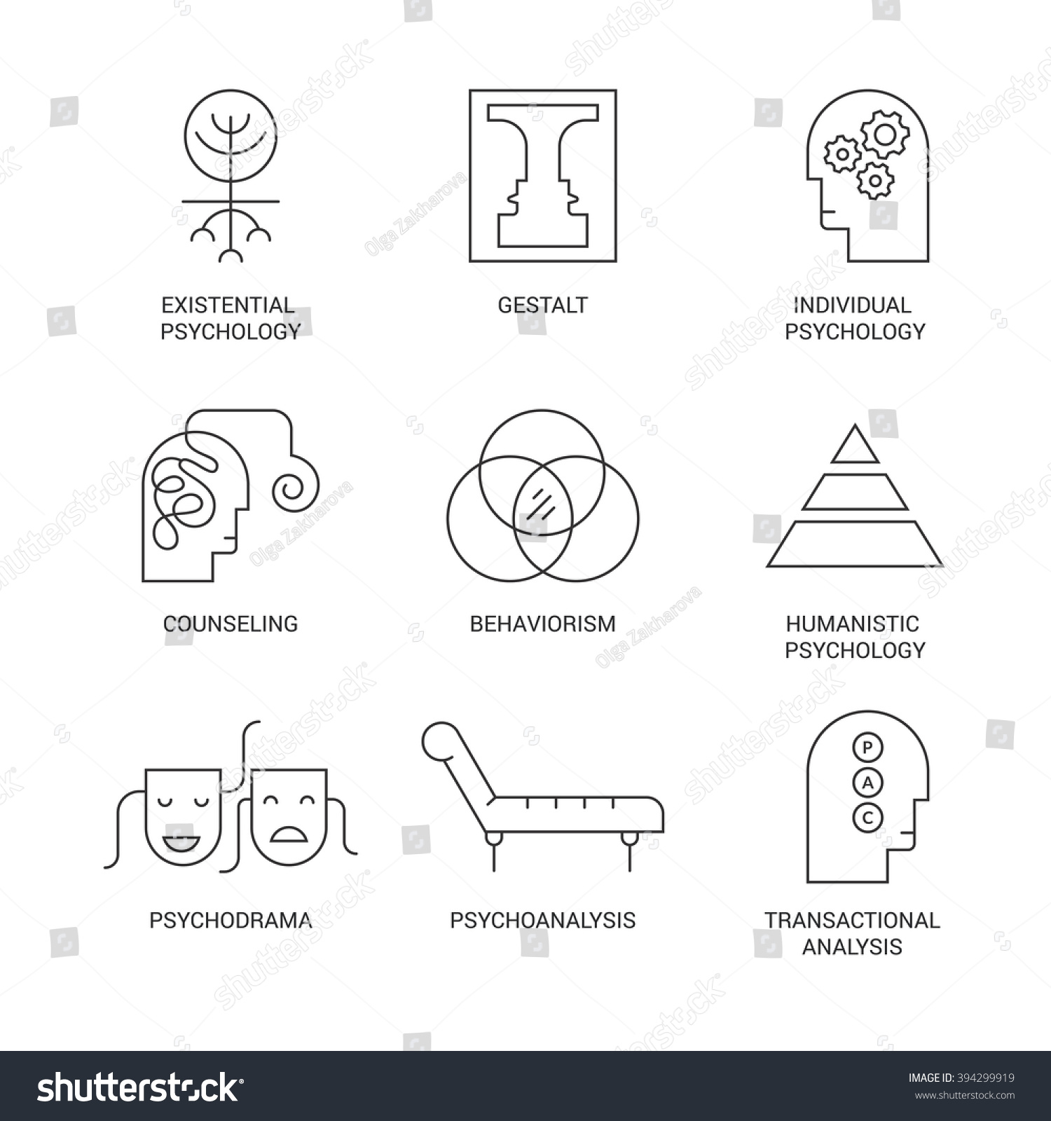 Royalty Free Symbols Of Different Psychology 394299919 Stock Photo