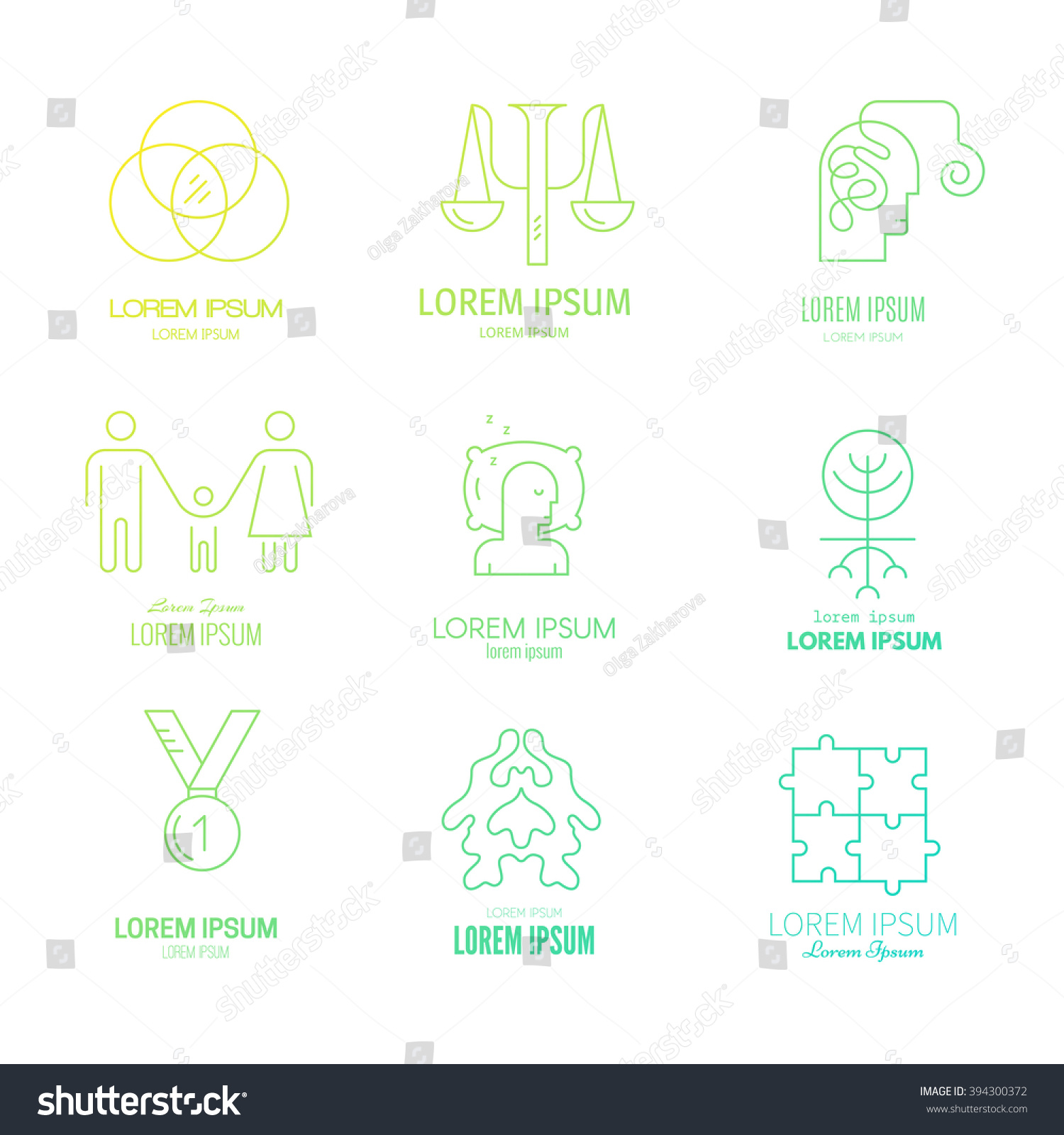 Collection Logo Templates Psychology Counseling Psychology Stock