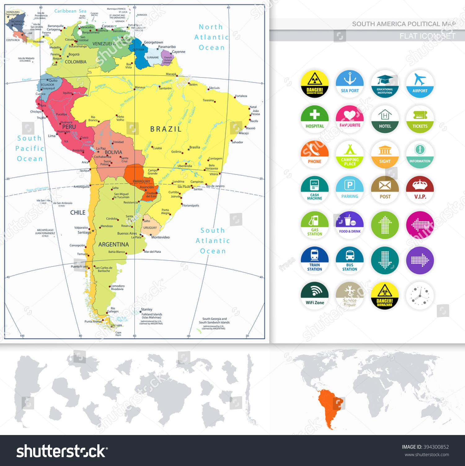 South america political map flat icon stock vector 394300852 south america political map and flat icon set all elements are separated in editable layers sciox Images