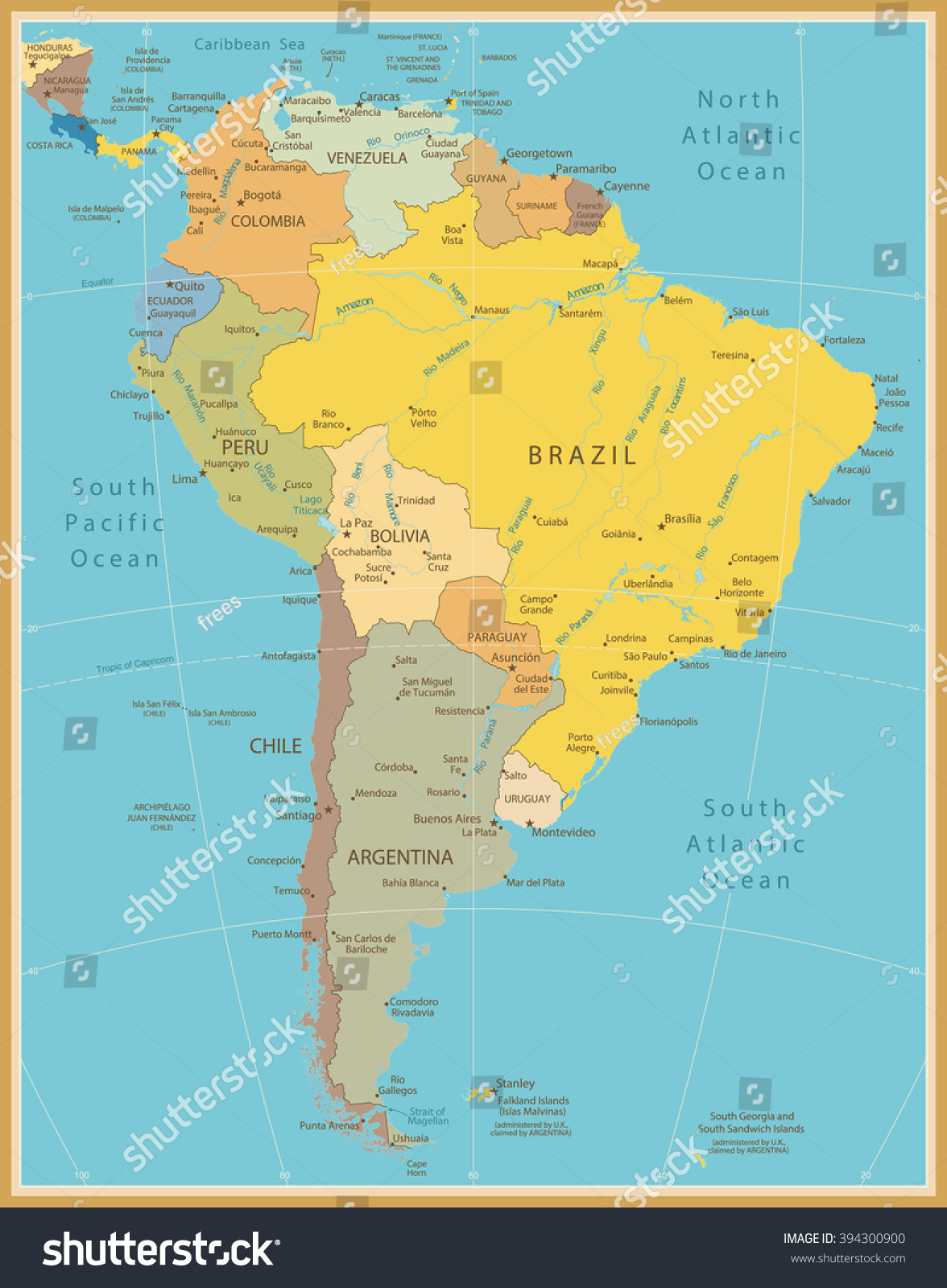 South America Detailed Map Vintage Color Stock Vector 394300900
