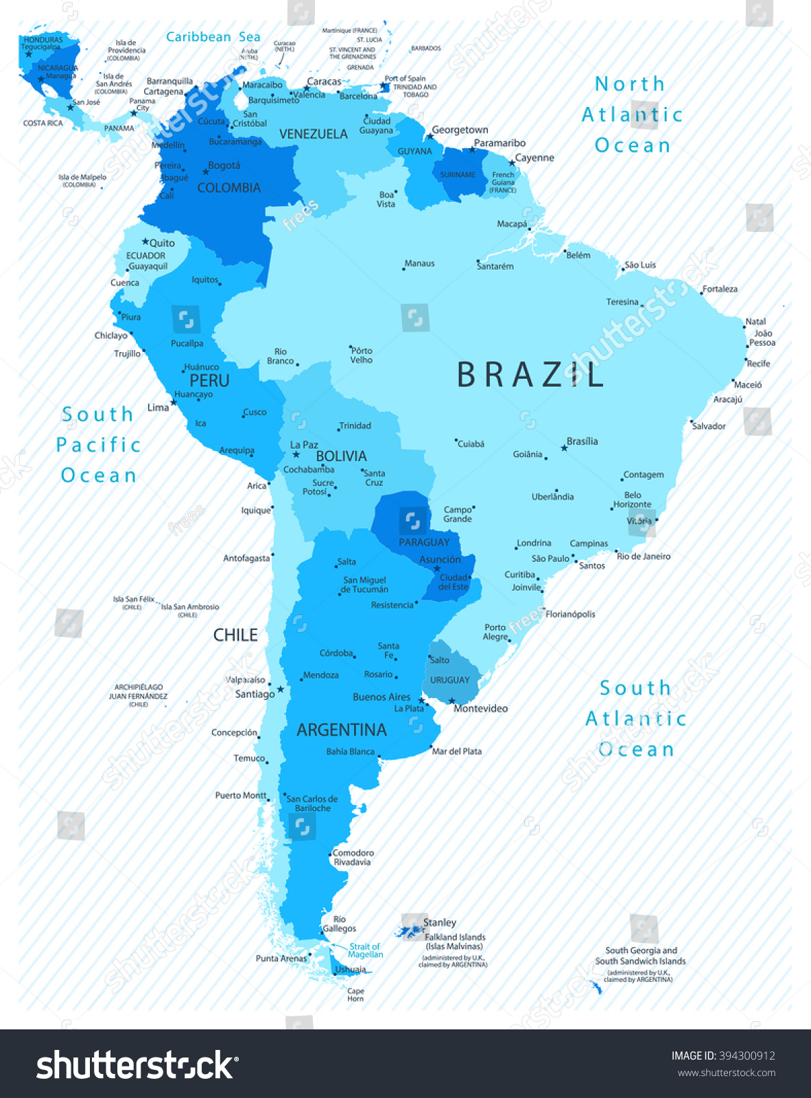 South America Detailed Map Blue Colors Stock Vector 394300912