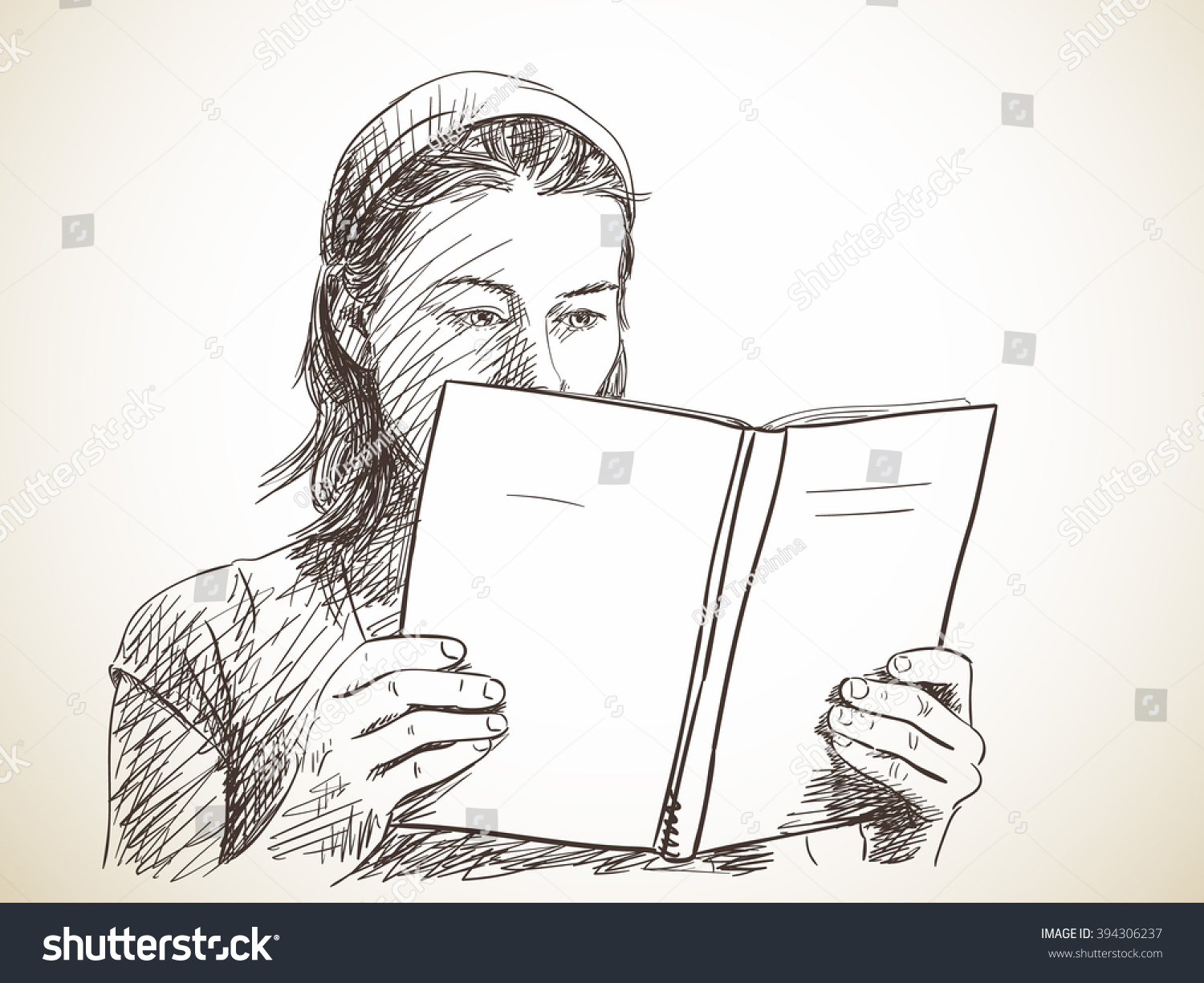 Sketch of woman reading book hand drawn illustration