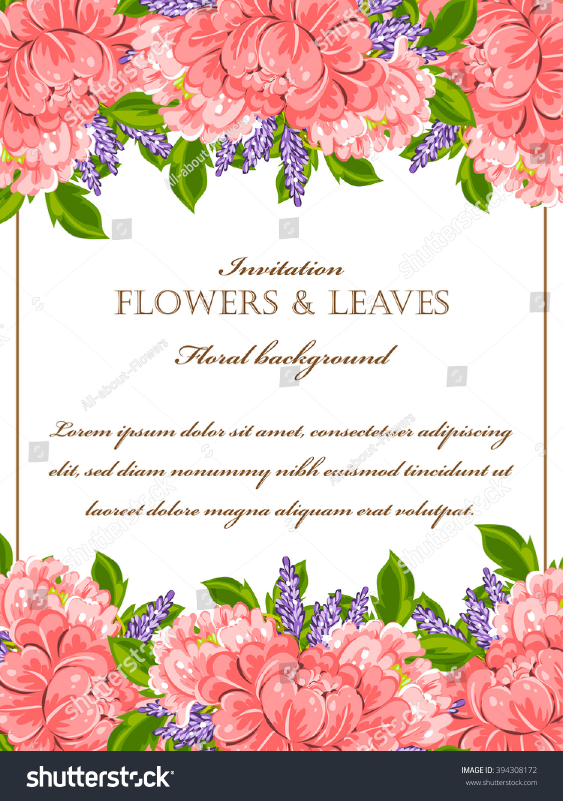 Vintage Delicate Invitation With Flowers For Wedding Marriage