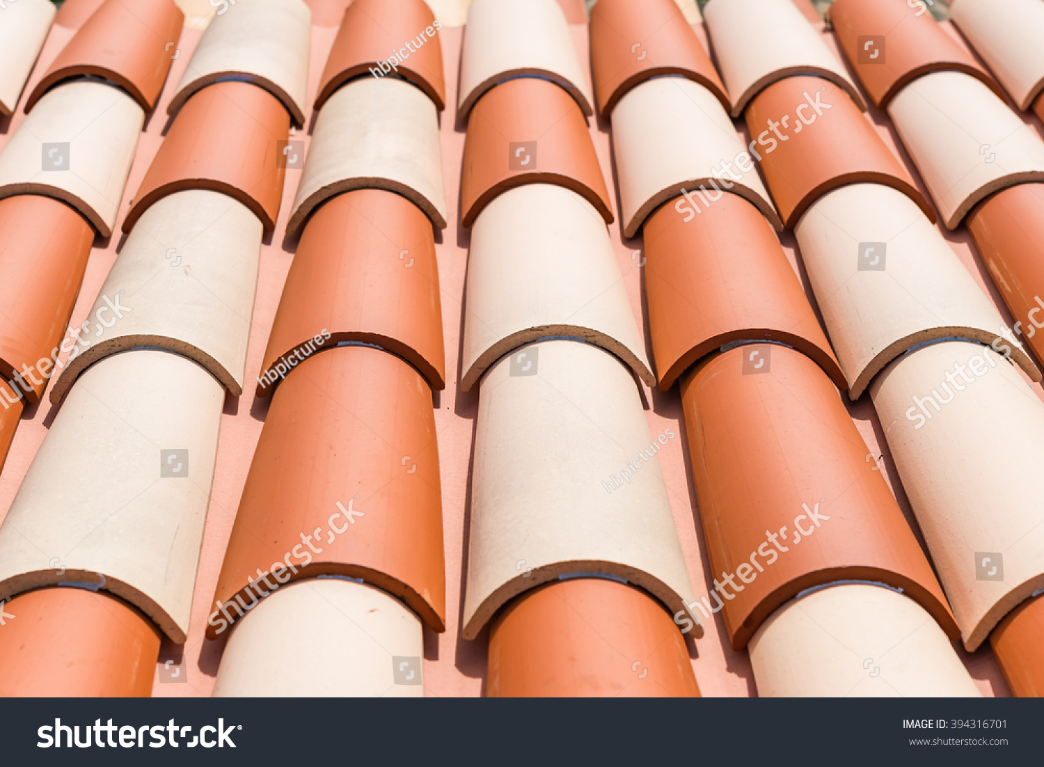 Close Up Of Spanish Style Clay Roof Tiles. Close Up Of Attractive Spanish  Style Terra