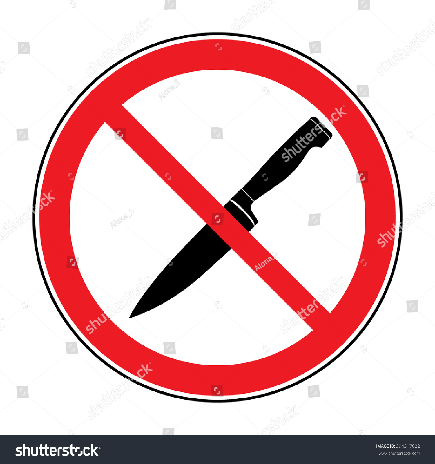 No Knife No Weapon Sign No Stock Illustration 394317022 Shutterstock