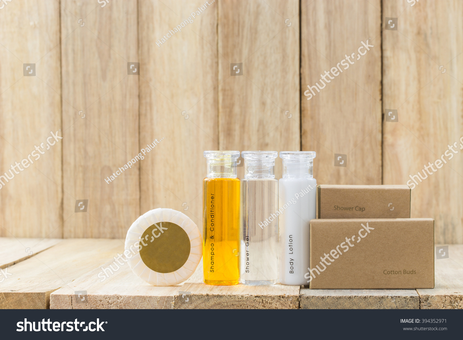 Tubes Bathroom Amenity Contains On Wooden Stock Photo Royalty Free - Bathroom tubes