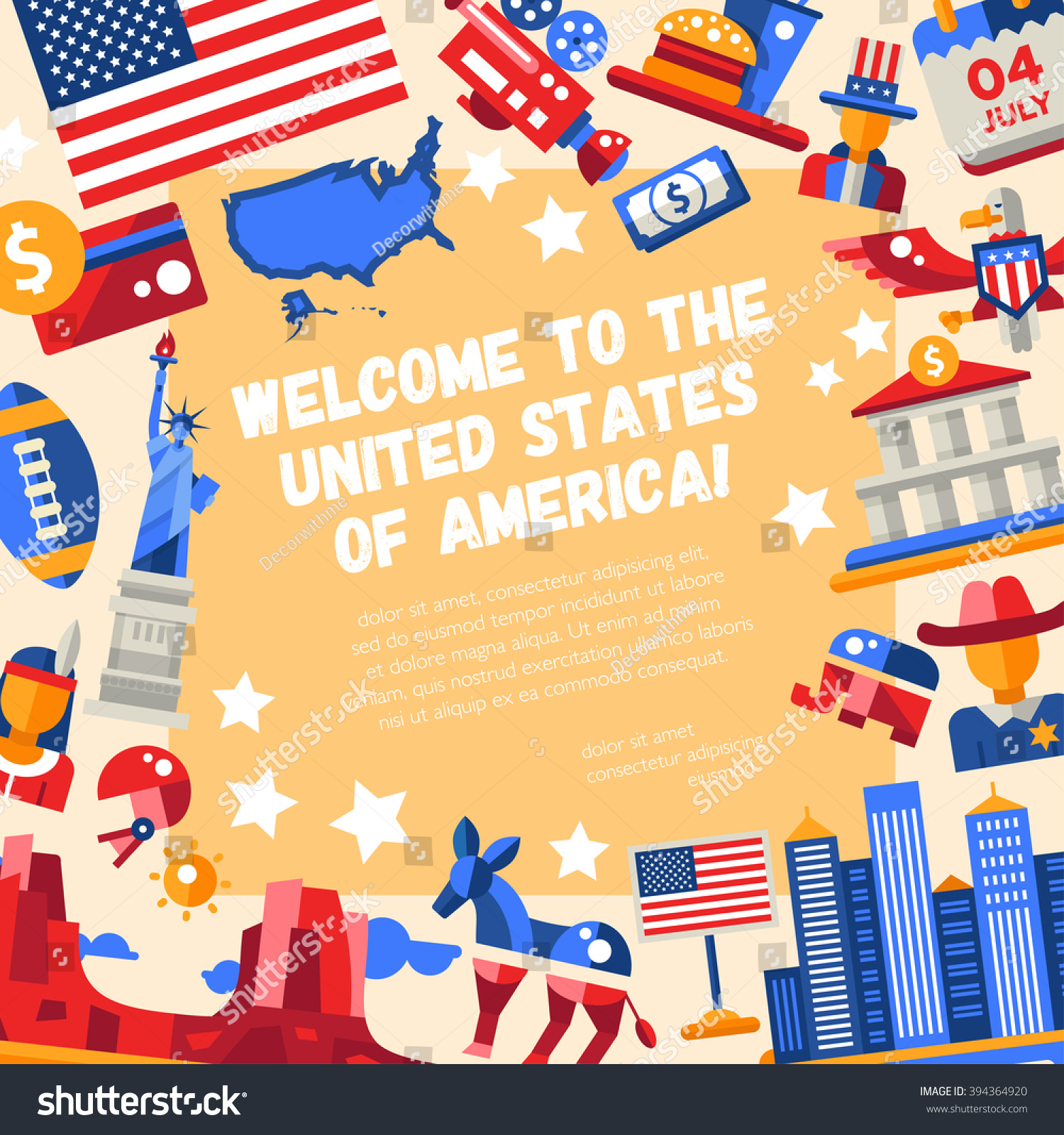 Illustration Flat Design Usa Travel Flyer Stock Illustration
