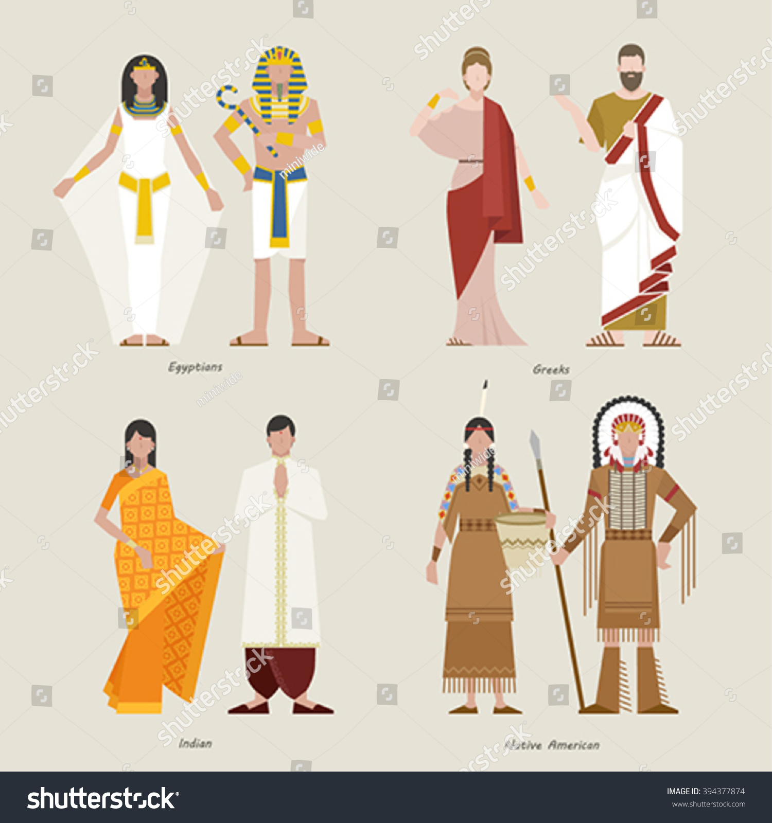 Ancient Clothing Egyptian Greeke Indian Native Stock ...