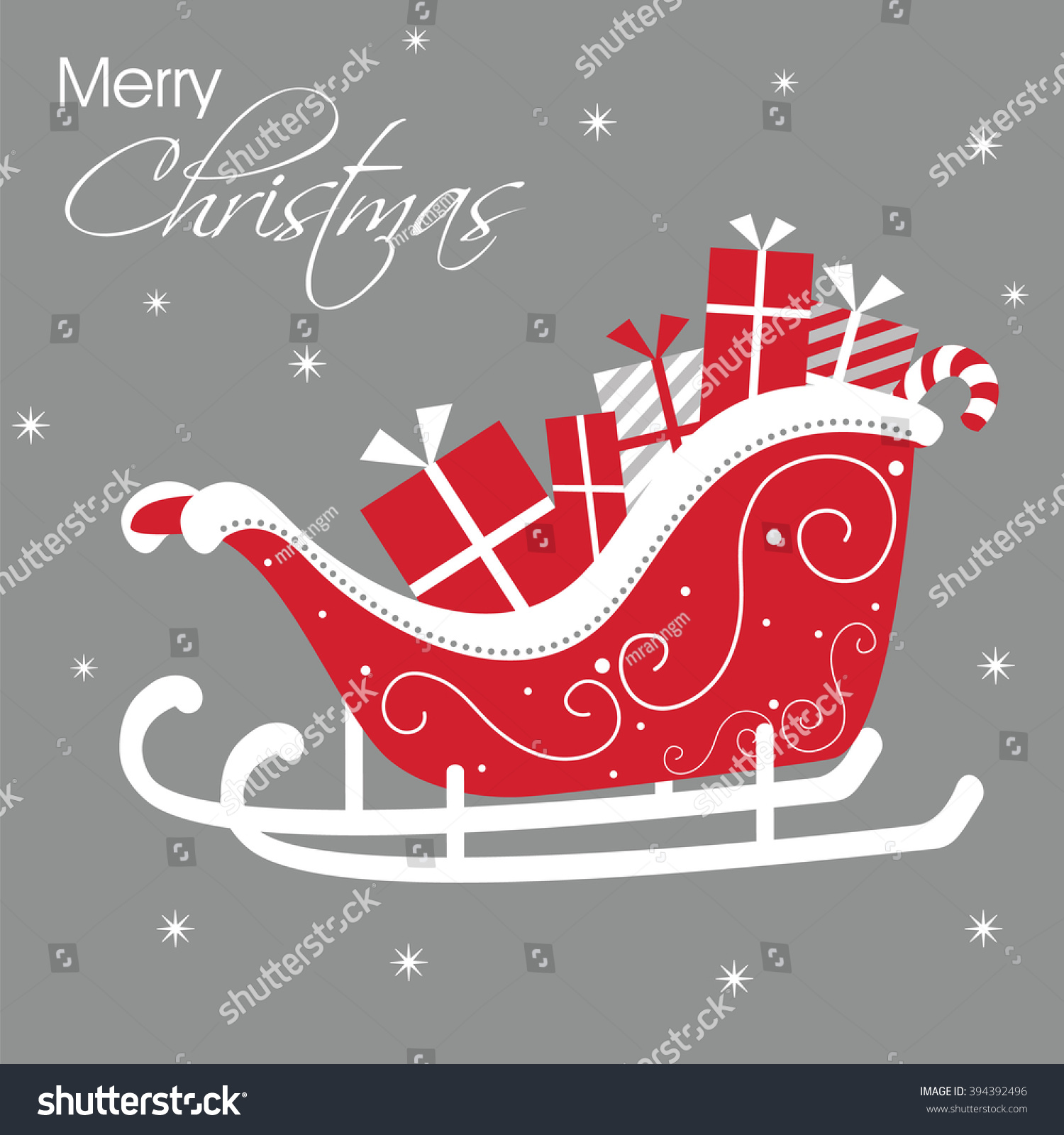 Luxury Christmas Card Santa Sleigh Design Stock Vector (Royalty Free ...