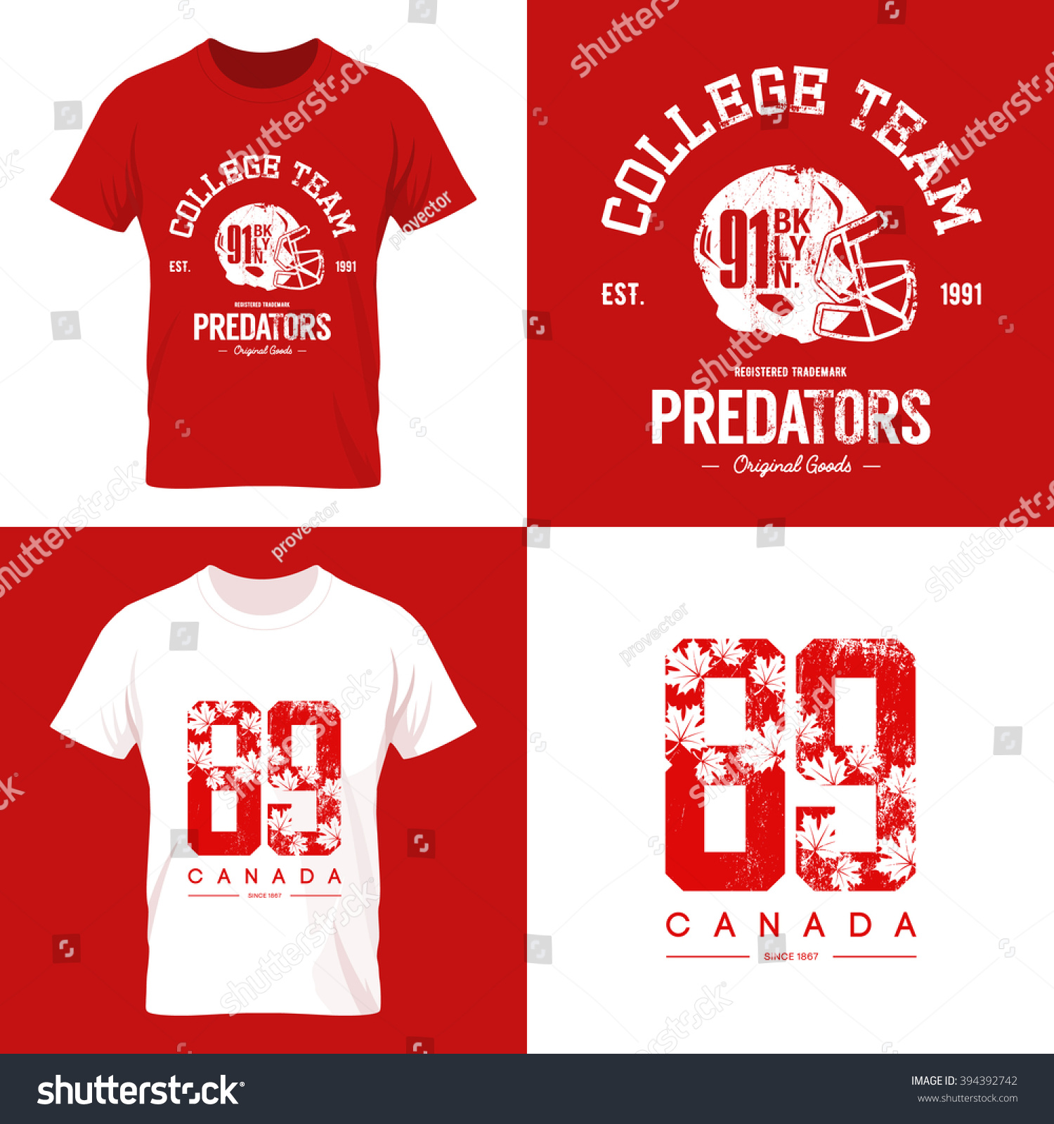Shirt design canada - Vintage Canada Red Tee Print Vector Design American Football Collage Team Old Grunge Effect