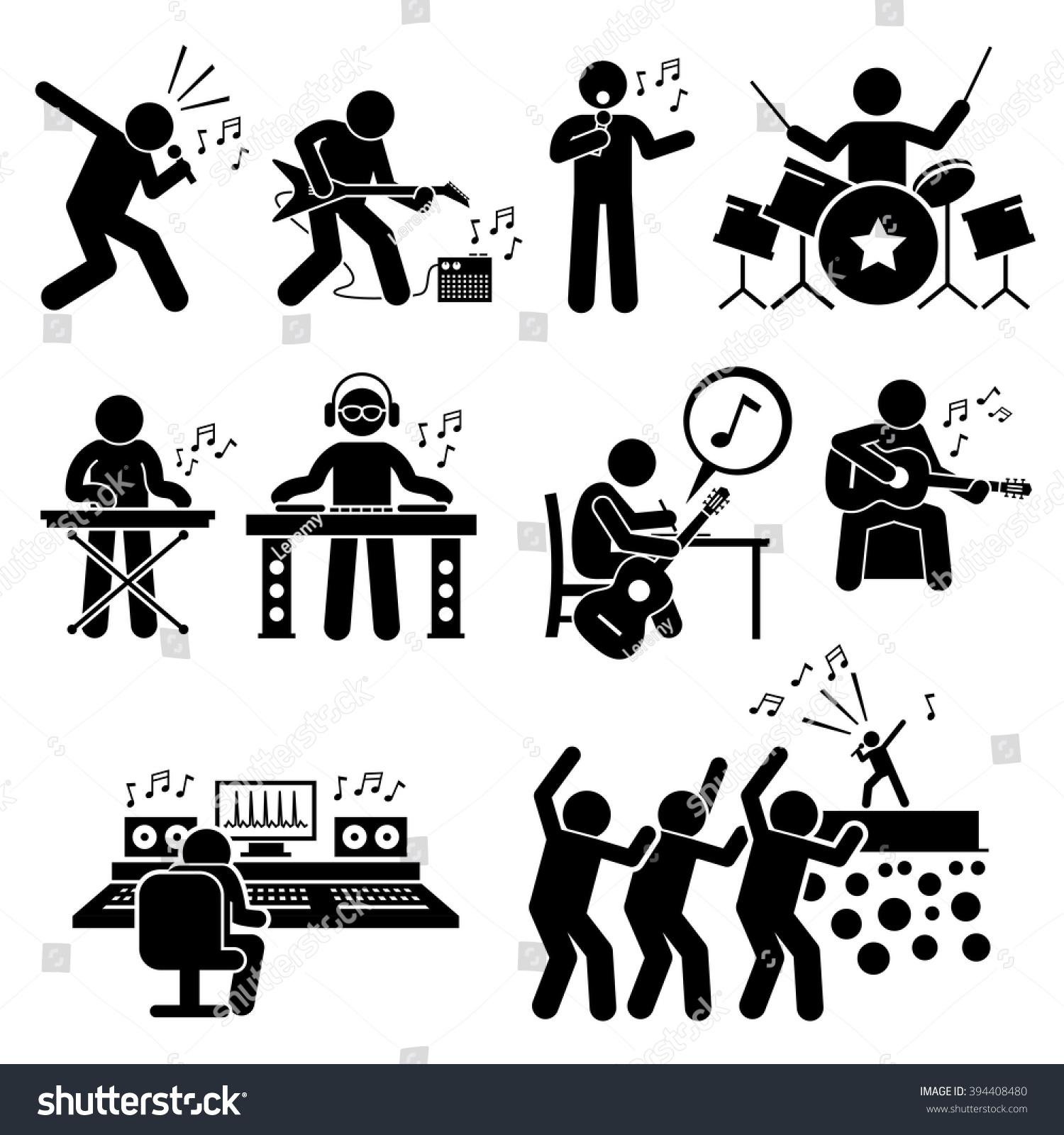 Running Man In Suit Silhouette Rock Star Musician Mus...