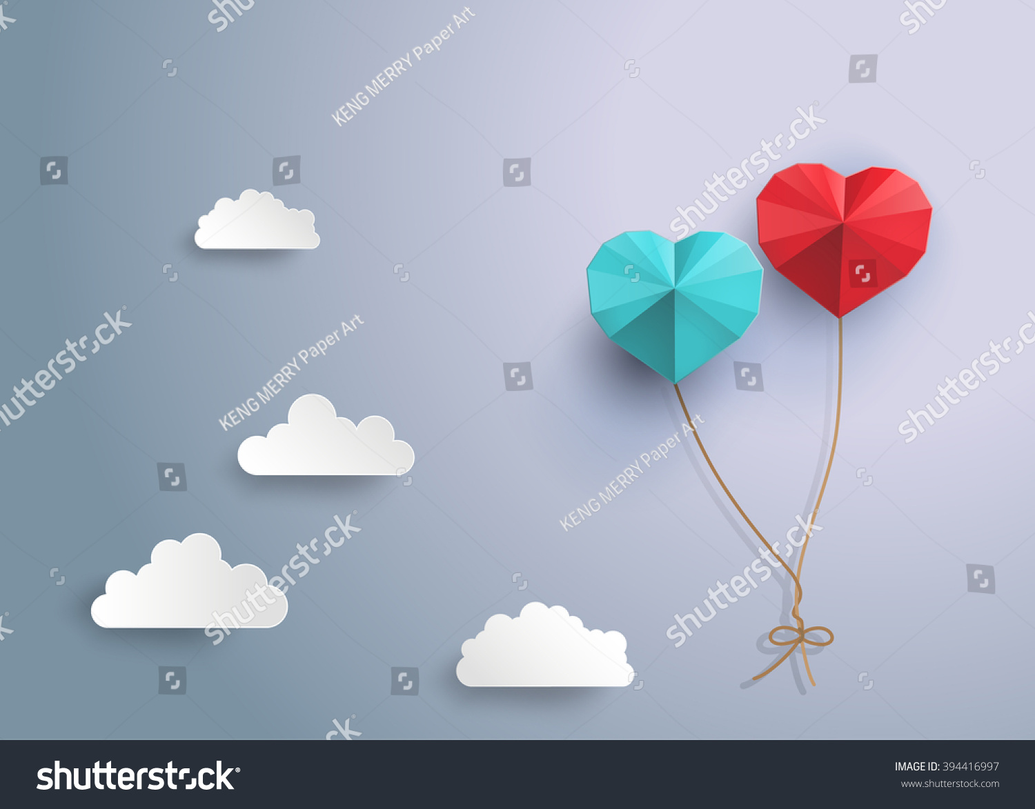 Origami balloon in in the shape of heart.paper art style