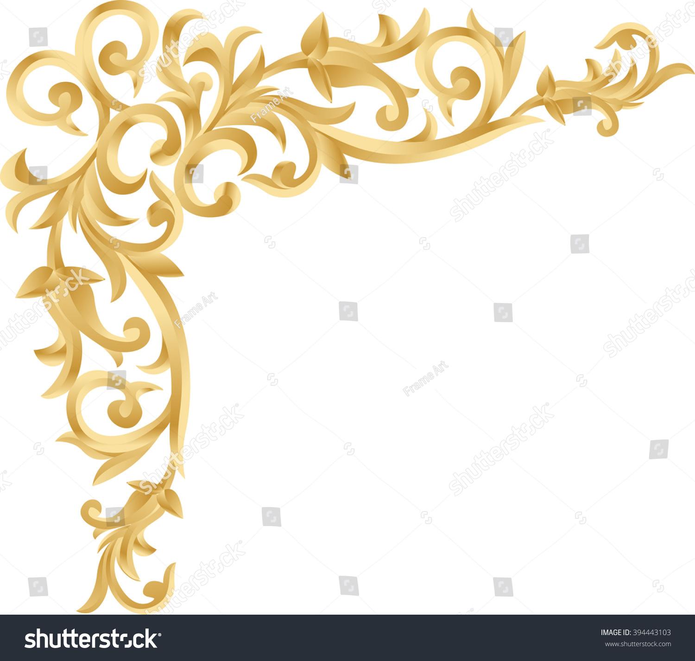 Antique Scroll Line: Corner Gold Vintage Baroque Frame… Stock Photo 394443103