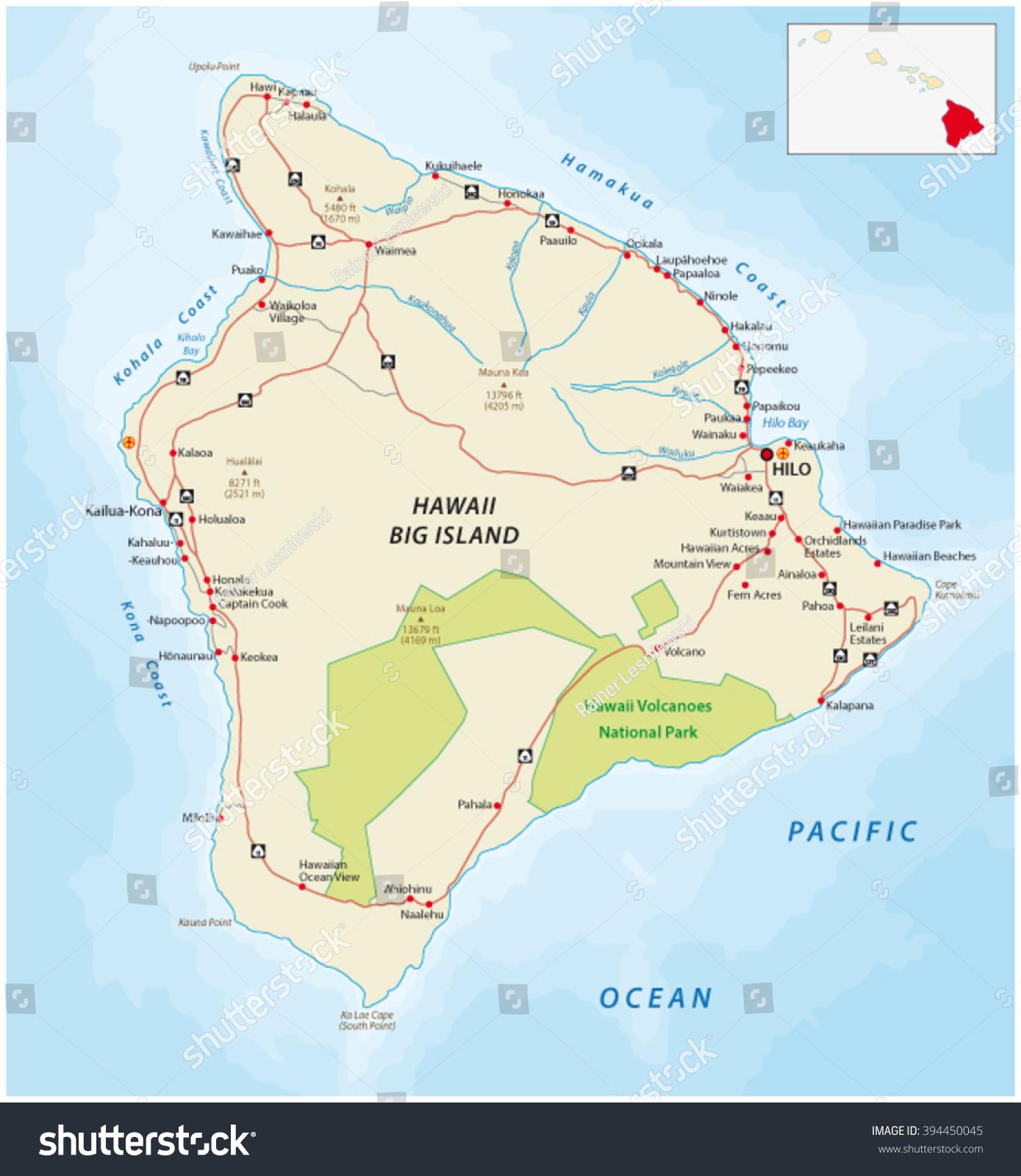 big island hawaii map stock vector   shutterstock - big island hawaii map