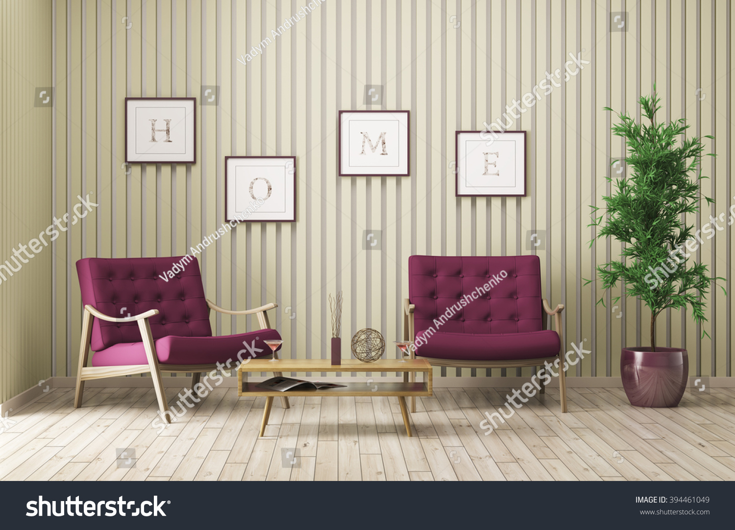 Modern Interior Living Room Two Armchairs Stock