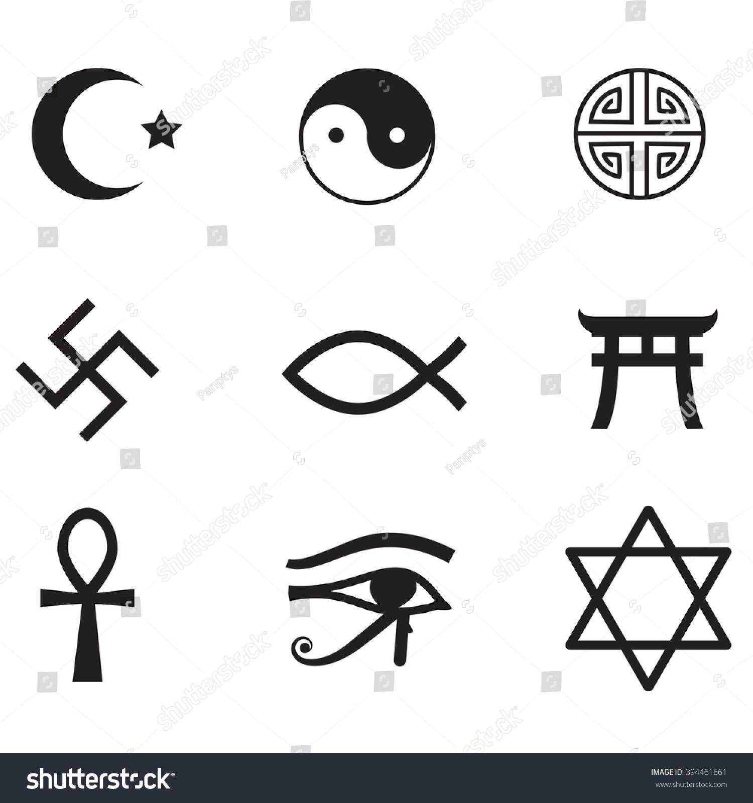 World Religions Symbols Icon Set Stock Illustration 394461661