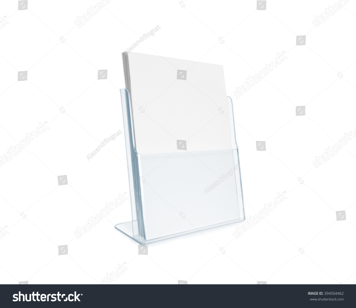 Blank flyer mockup glass plastic transparent stock photo for Cardboard brochure holder template