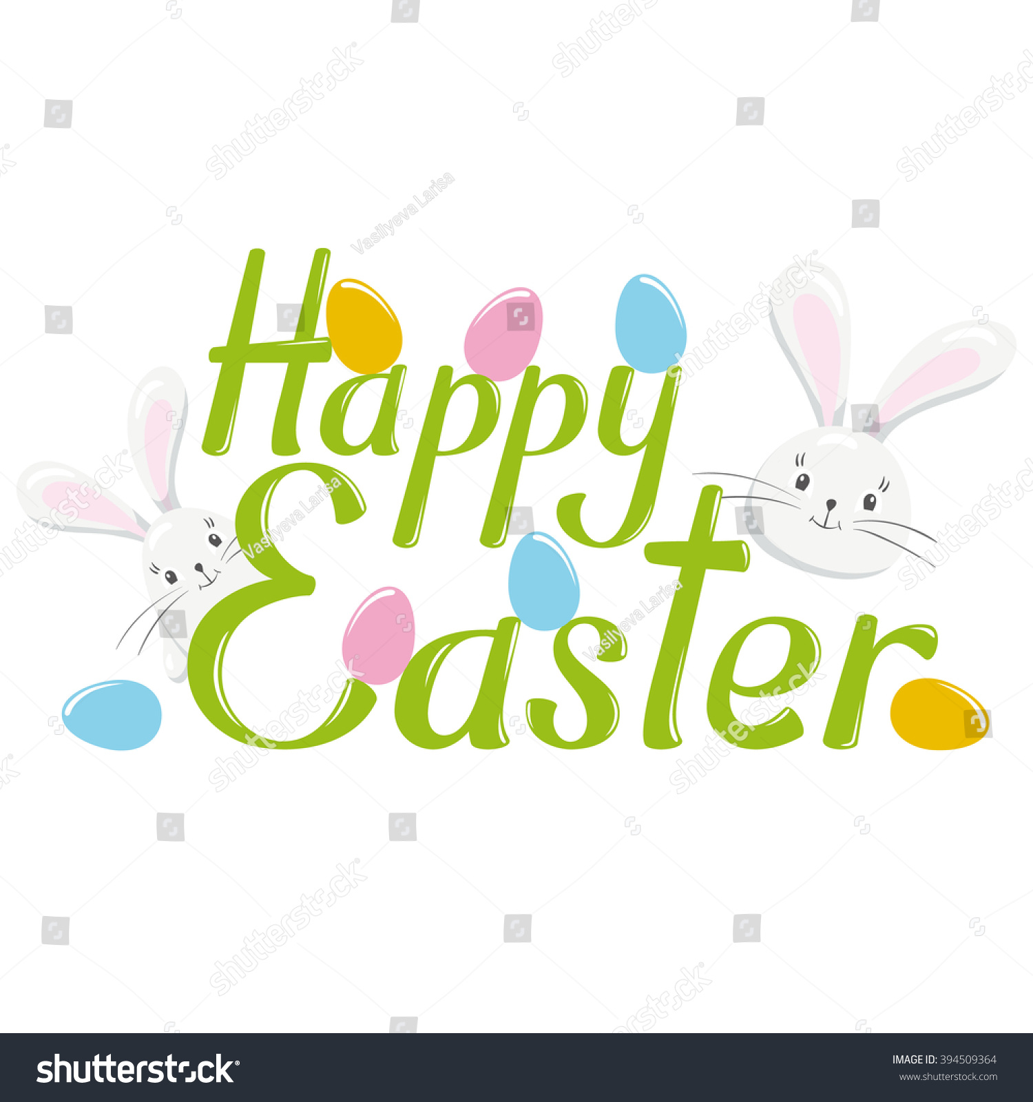 Happy Easter Vector Lettering Isolated On Stock Vector ...
