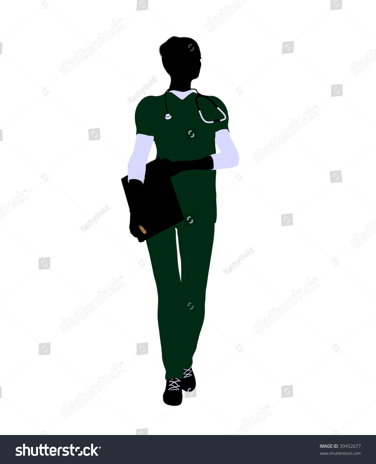 Female Doctor Art Illustration Silhouette On A White ...