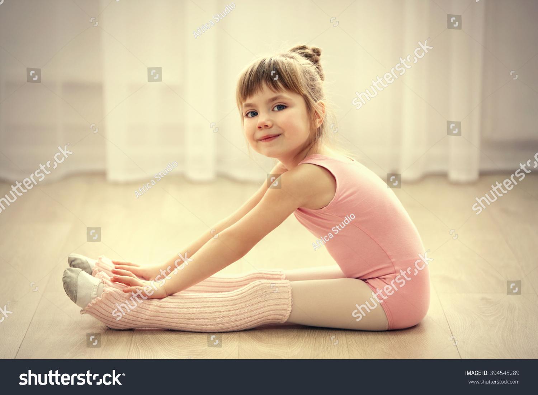 ec0ffd3b1069 Little Cute Girl Pink Leotard Making Stock Photo (Edit Now ...