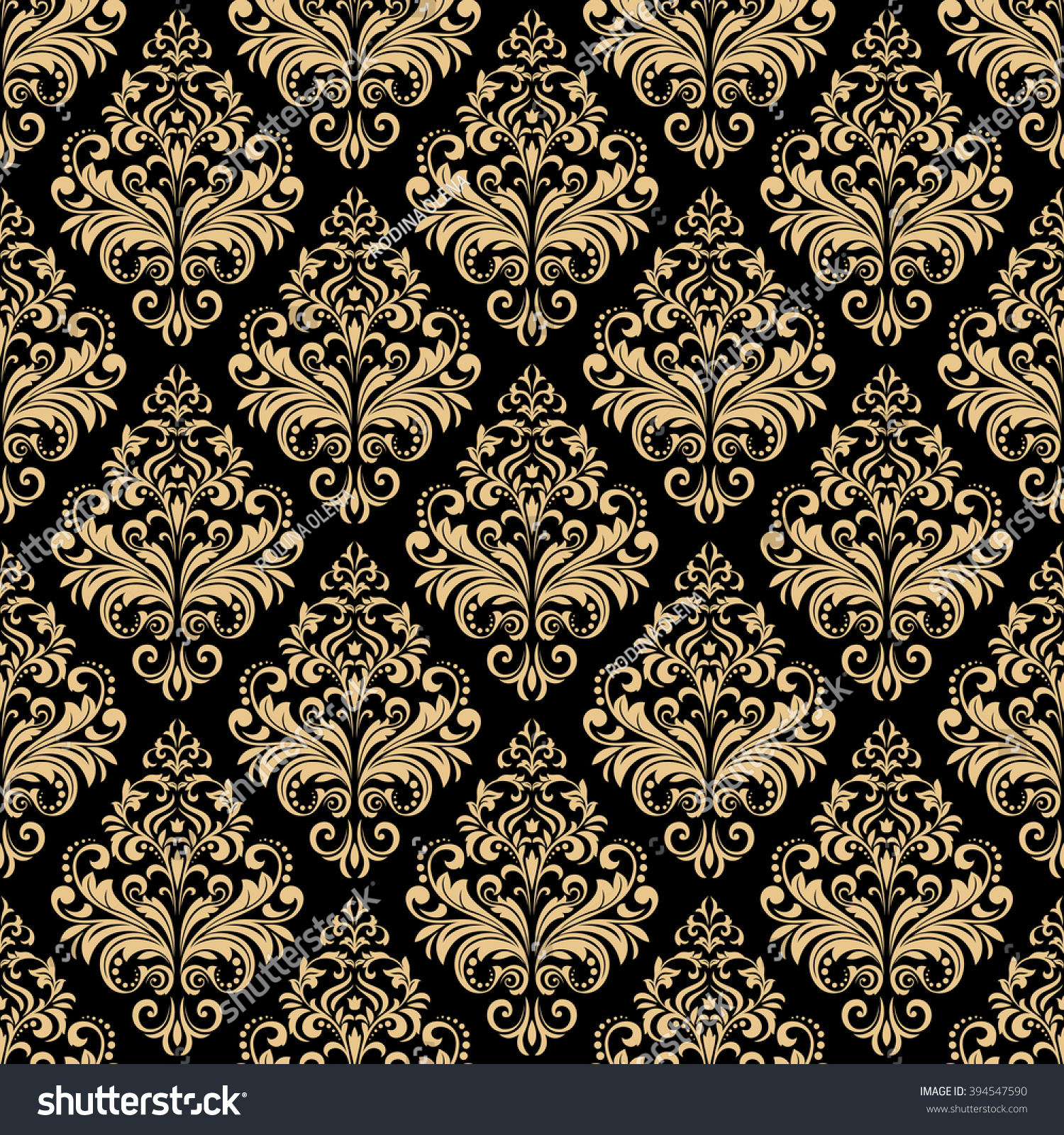 Wallpaper Baroque Damask Seamless Vector Background Gold And Black Ornament