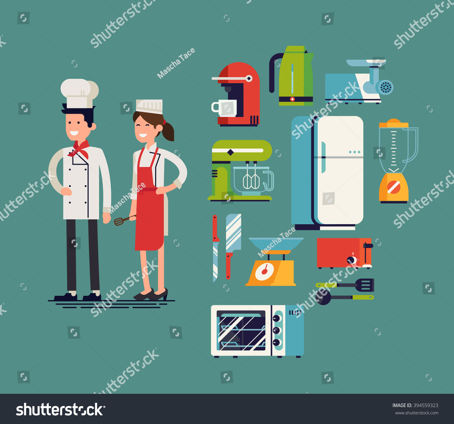 Cool Flat Design On Essential Kitchen Appliances Set, Tools And Equipment  With Culinary And Cuisine Part 68