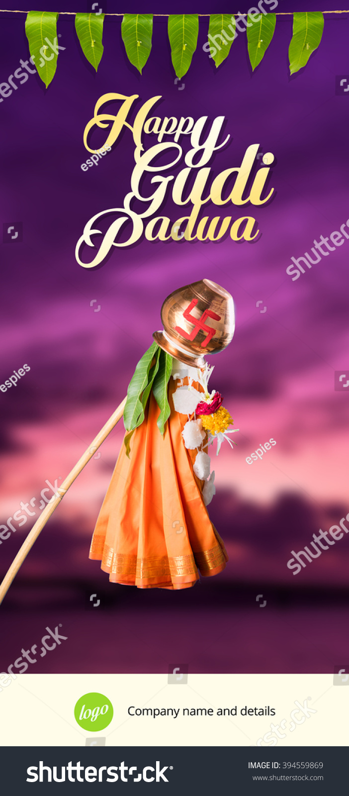 Gudi padwa or gudhi padwa greeting card Indian lunar new year's Day Observed or celebrated by Marathi Hindus