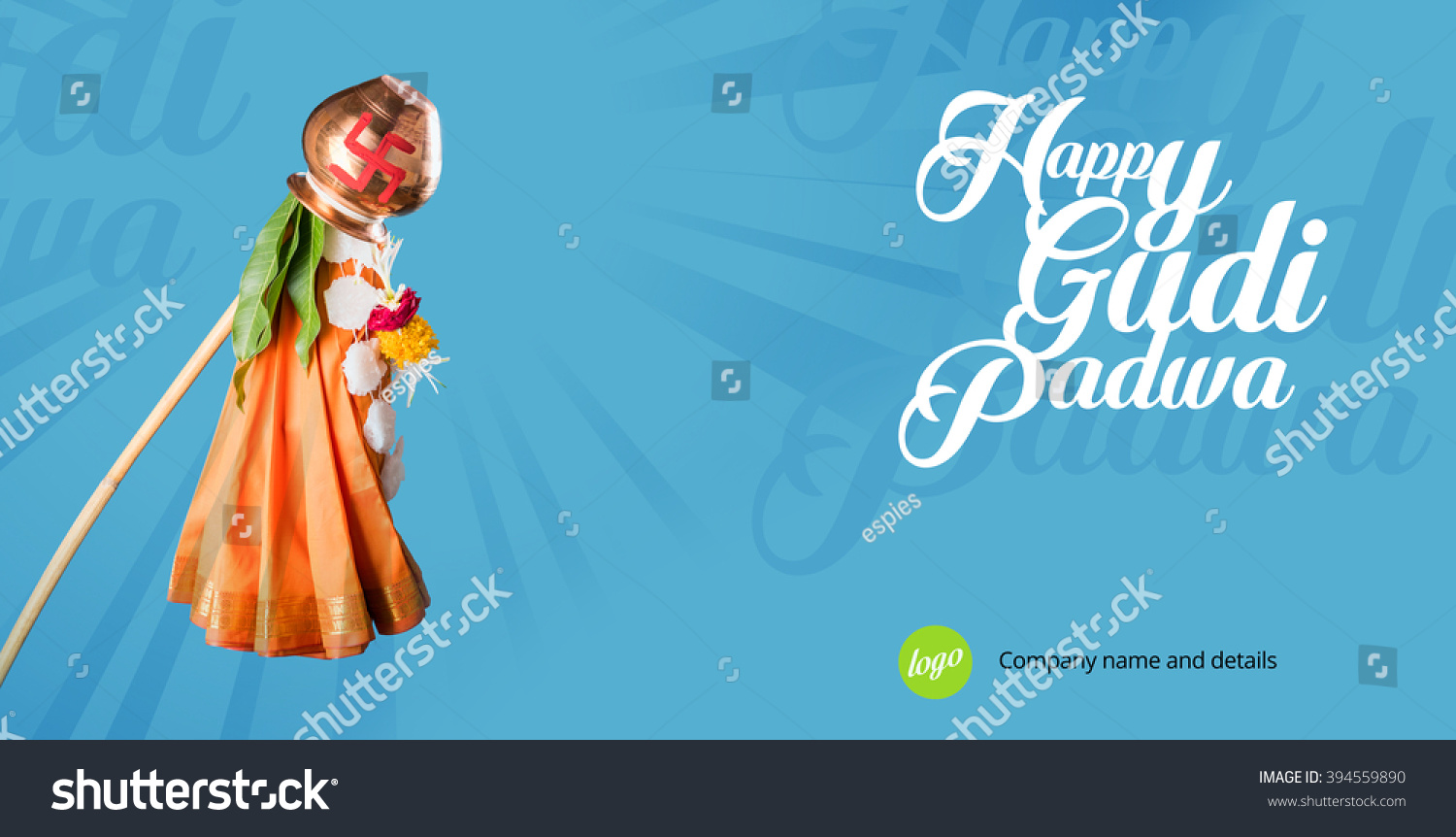 Royalty free happy gudi padwa greeting its a 394559890 stock happy gudi padwa greeting its a hindu new year celebrated across india where gudhi is errected outside home made up of bamboo stick cloth garland m4hsunfo