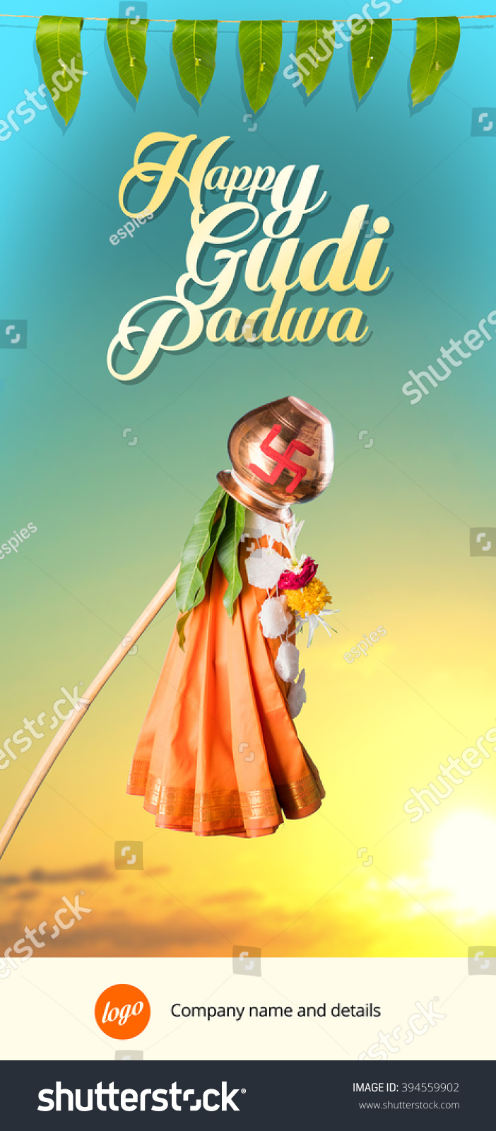 Royalty free happy gudi padwa greeting its a 394559902 stock happy gudi padwa greeting its a hindu new year celebrated across india where gudhi is errected outside home made up of bamboo stick cloth garland m4hsunfo