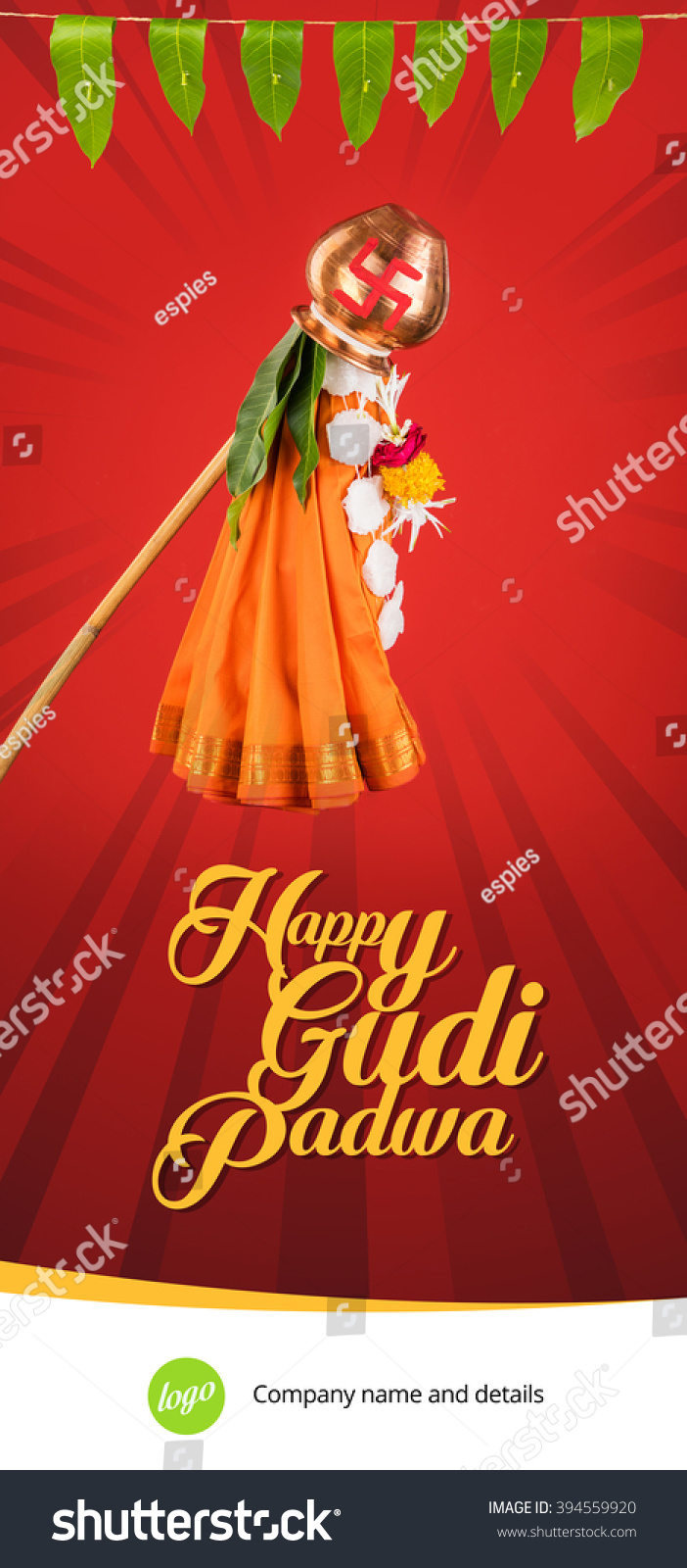 Happy Gudi Padwa Greeting Hindu New Stock Photo Edit Now 394559920