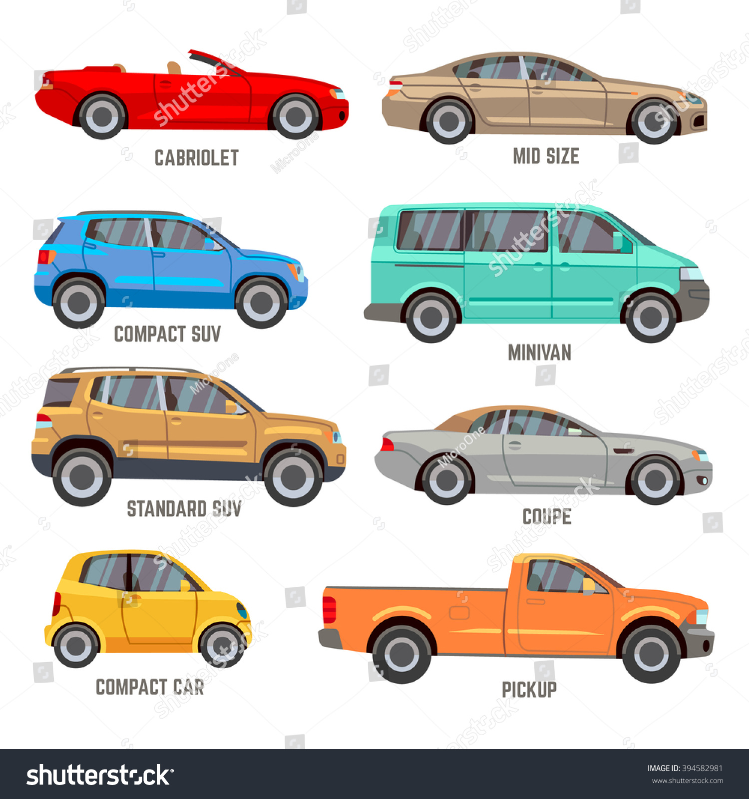 Car types vector flat icons Automobile models icons set
