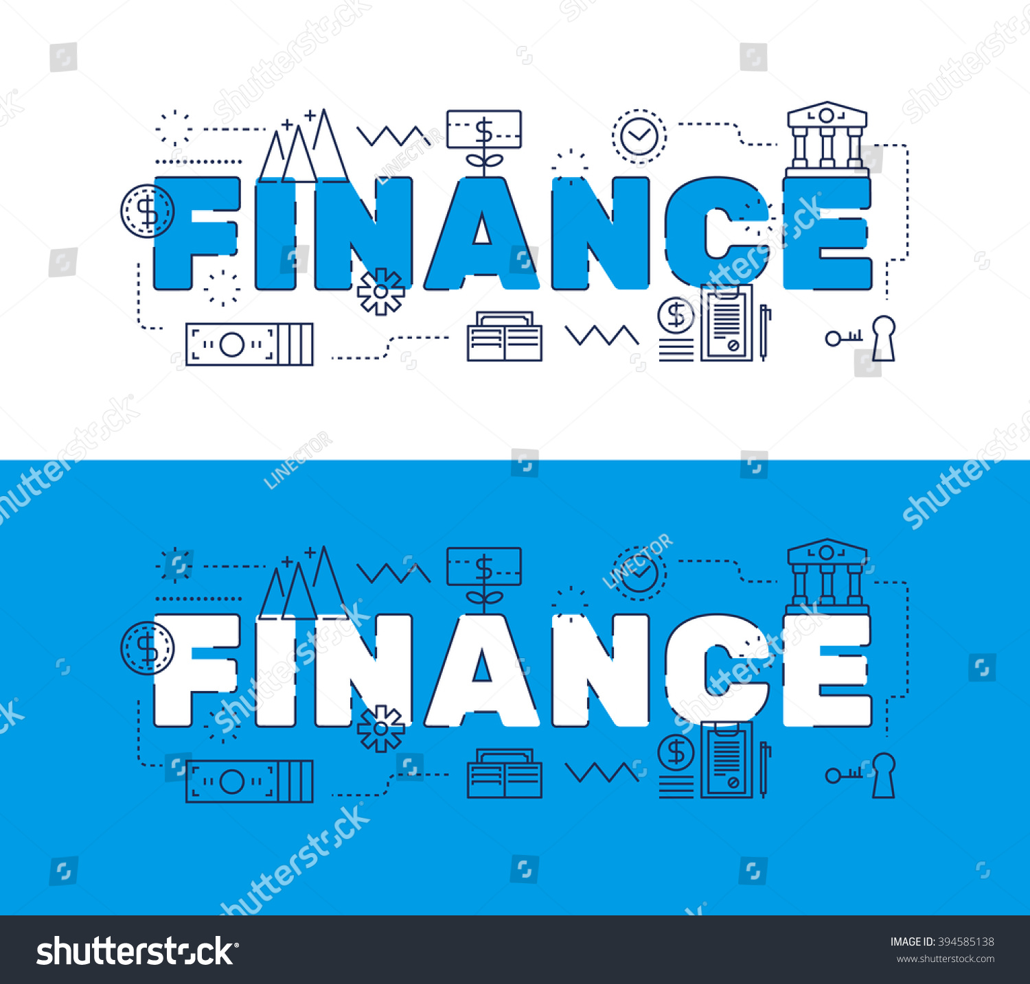 Finance Words: Line Icons Design Words Finance Elements Stock Vector