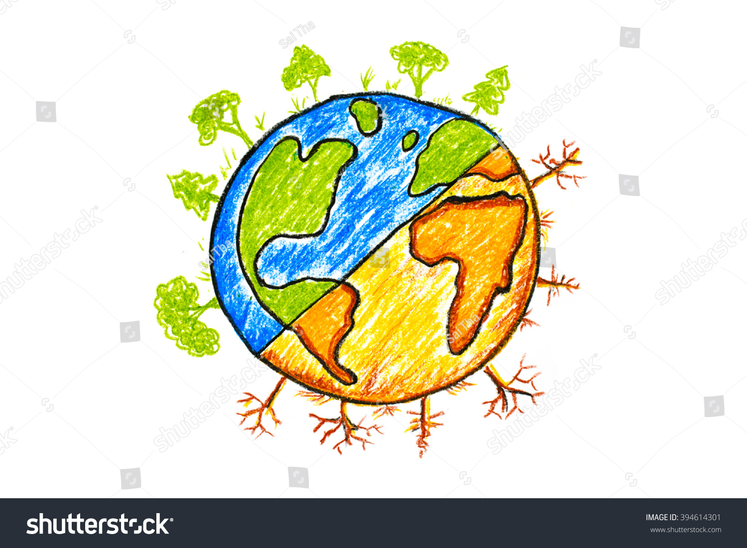 Hand drawn earth change icon on white global warming concept