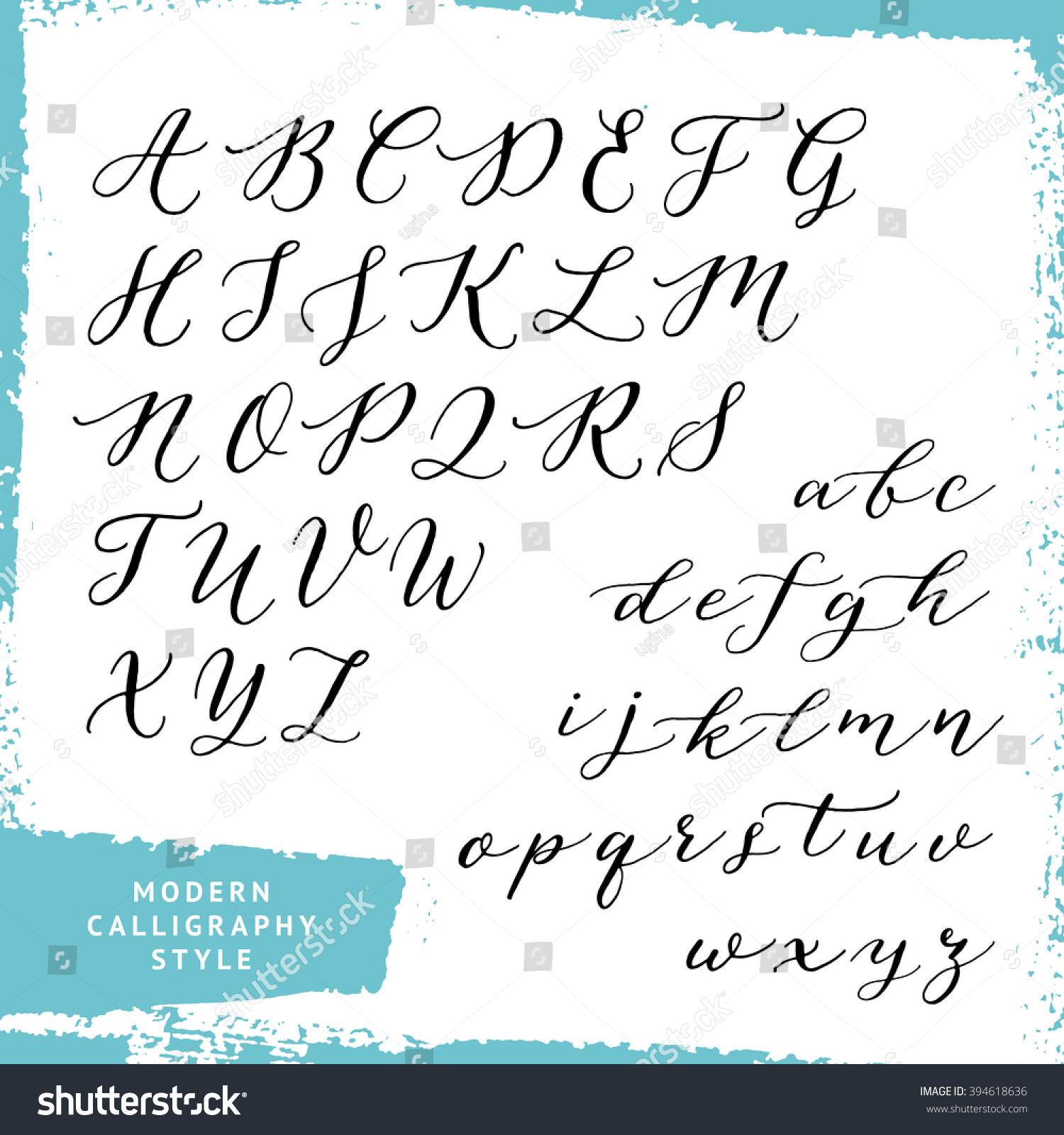 Modern calligraphy style handwritten script alphabet stock