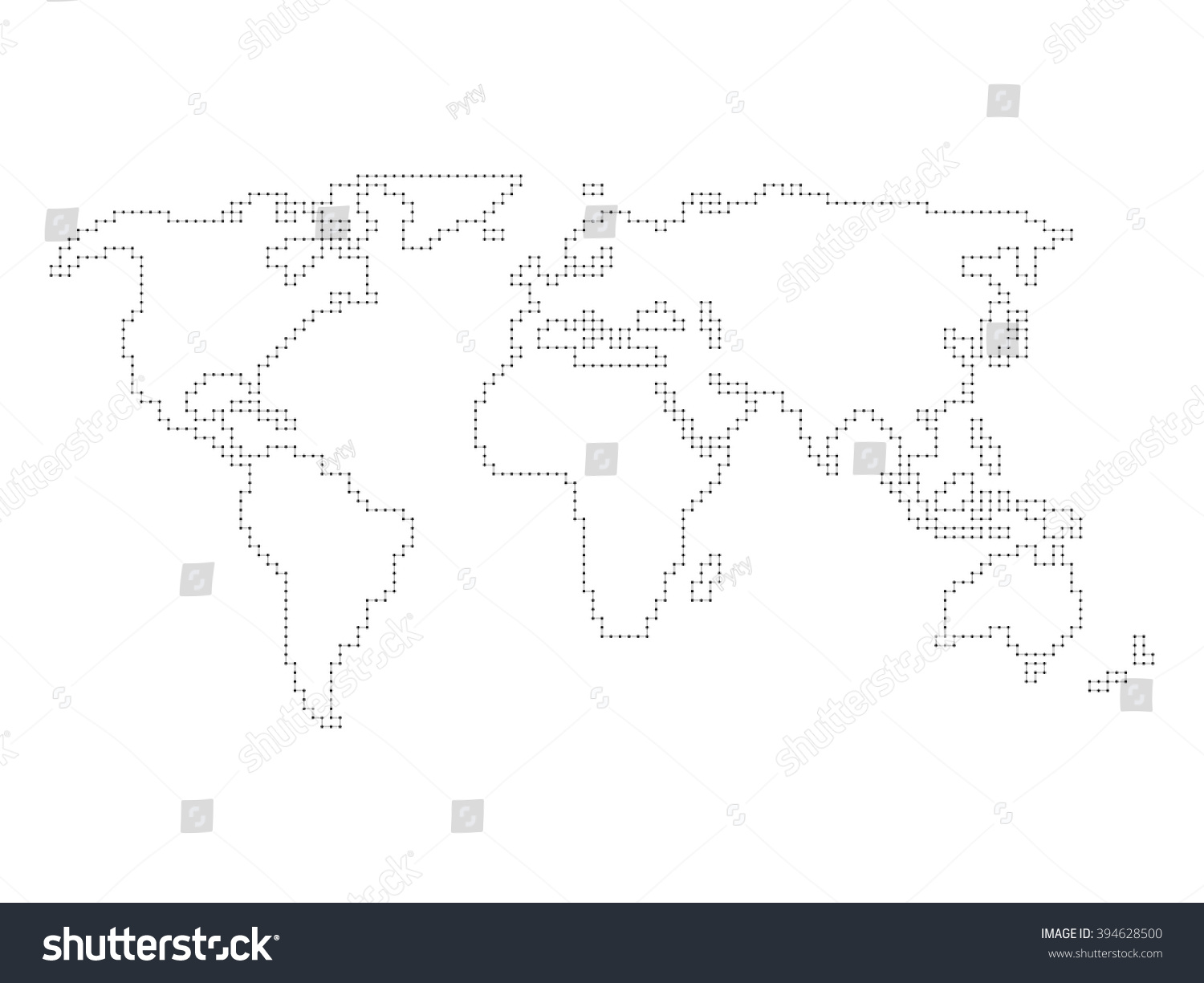 Vector World Map   Angular Outline