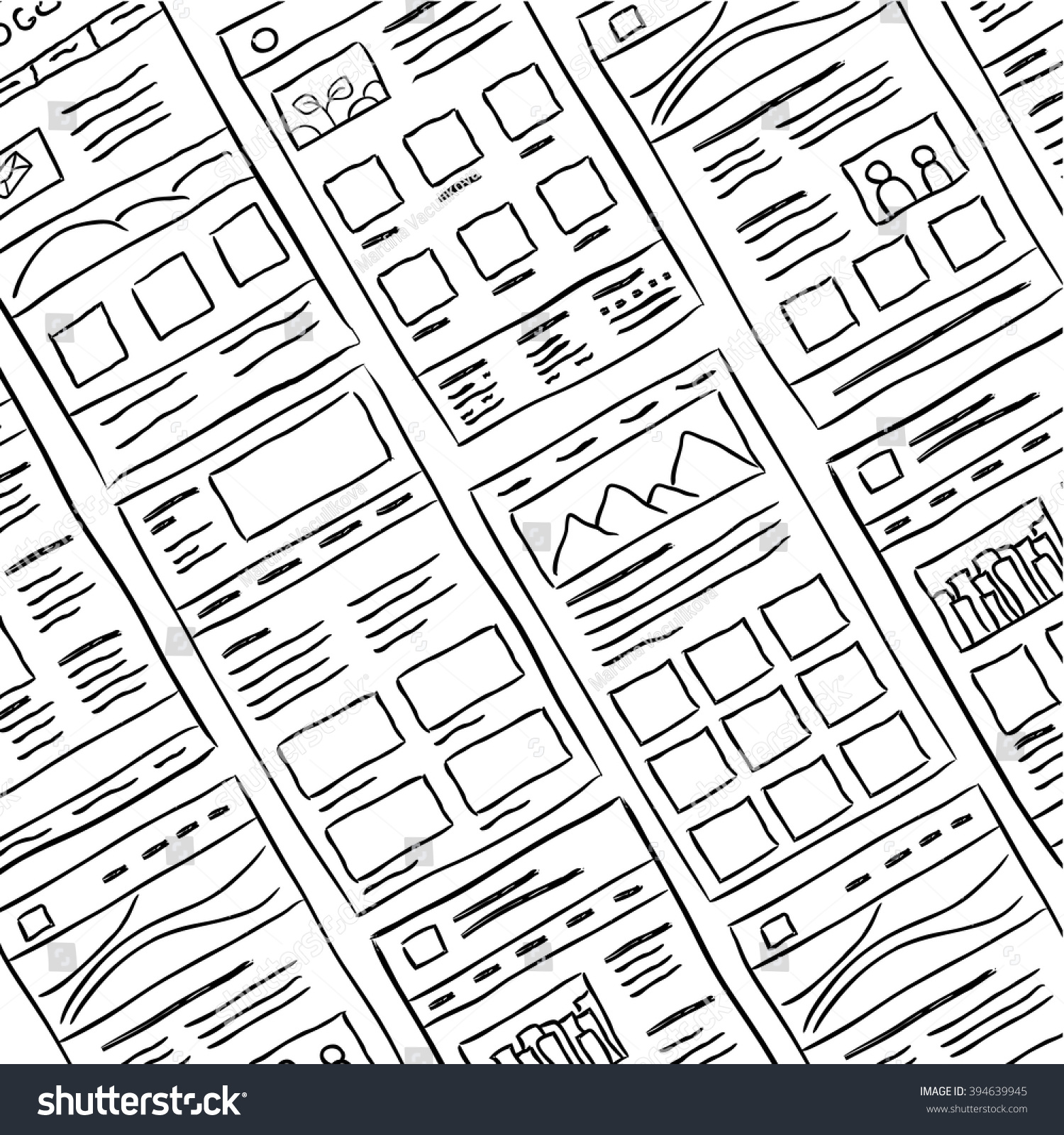 Hand Drawn Website Layouts Doodle Style Stock Vector (Royalty Free ...