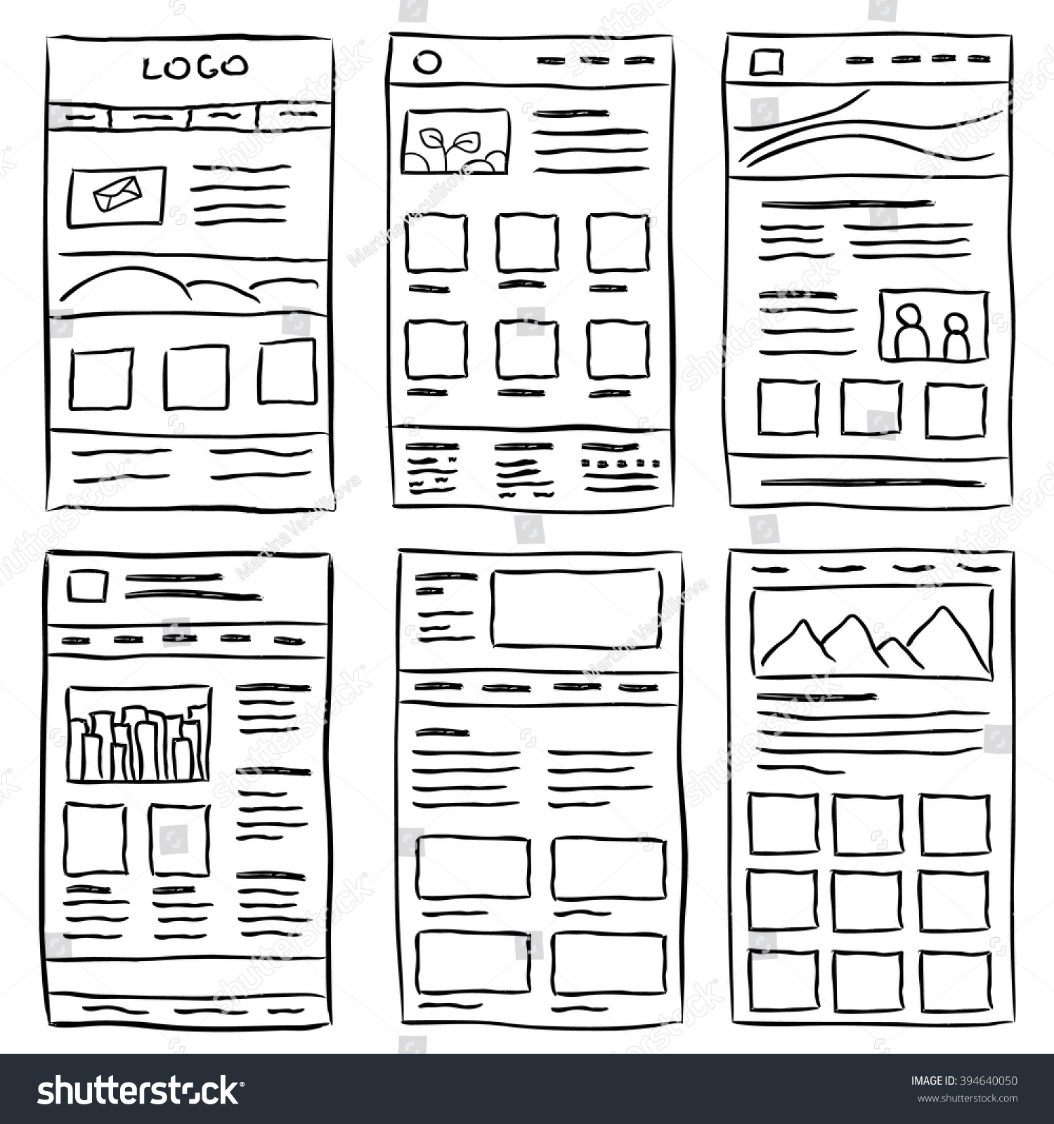 hand drawn website layouts doodle style のベクター画像素材