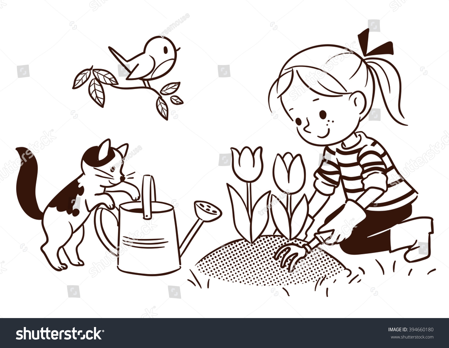 Line Drawing Little Girl : Vector black white cartoon line drawing stock