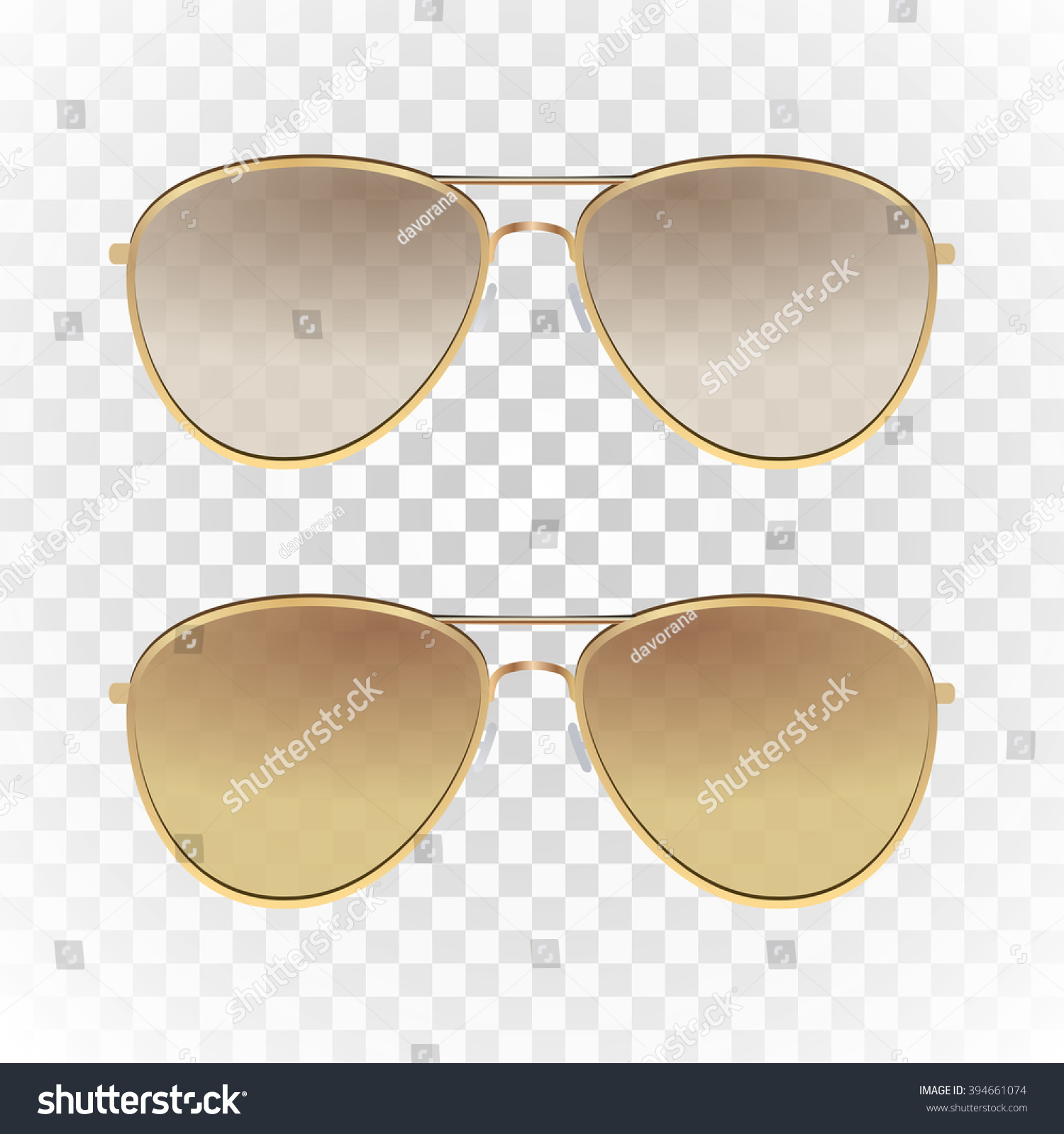 Set light brown color aviator sunglasses stock vector 394661074 set light brown color aviator sunglasses with gold frame sun glasses with transparent gradient urmus Image collections
