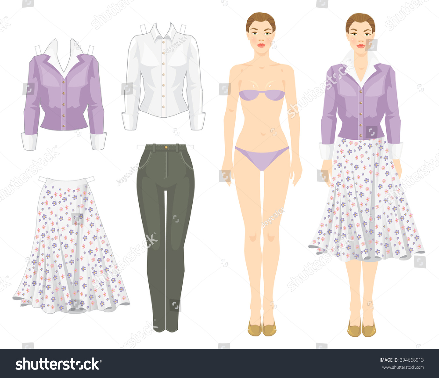 Royalty free paper doll with clothes for office and for Paper doll template woman