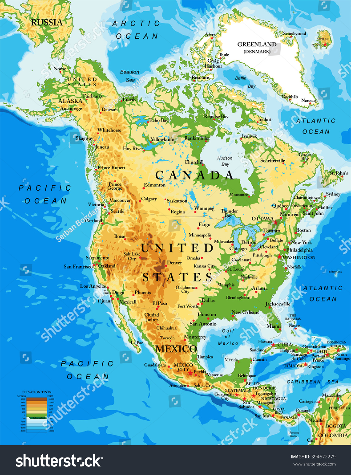 Physical Map North America Stock Vector Shutterstock - North america continent map physical