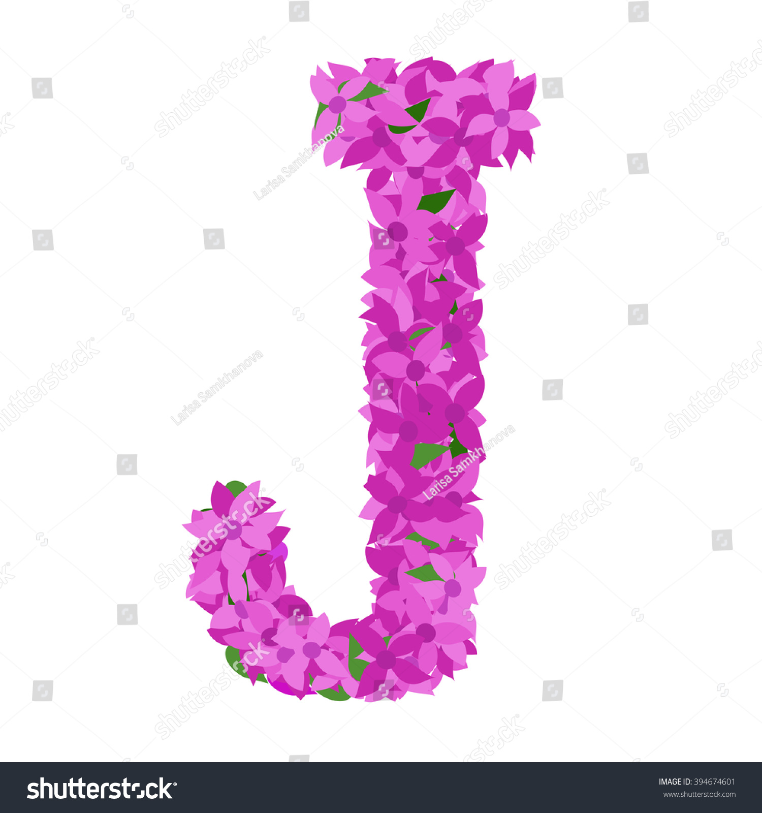 Letter J Lilac Flower Letter J Stock Vector (Royalty Free) 394674601 ...
