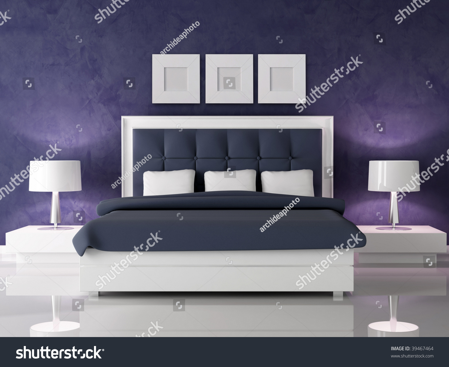 Fashion white and navy blue bedroom against dark purple stucco wall rendering